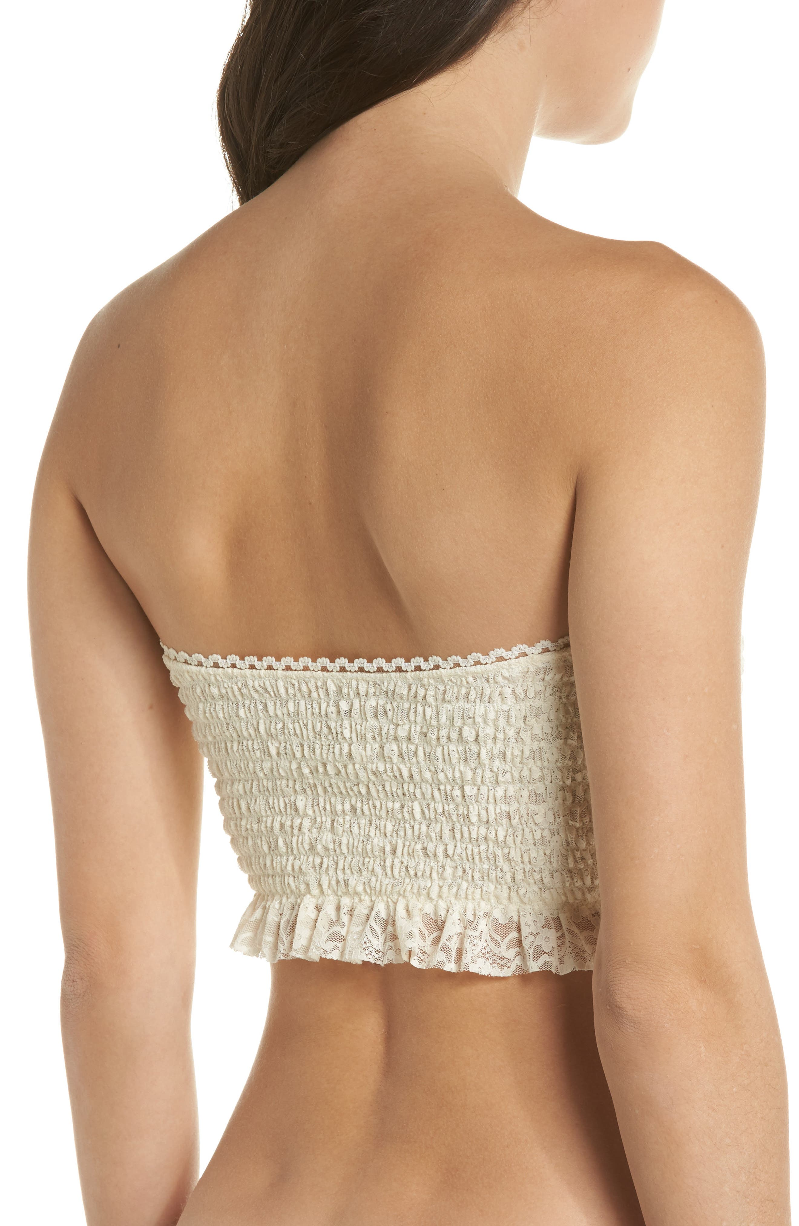 Callie Smocked Bandeau Top,                             Alternate thumbnail 2, color,                             Ivory