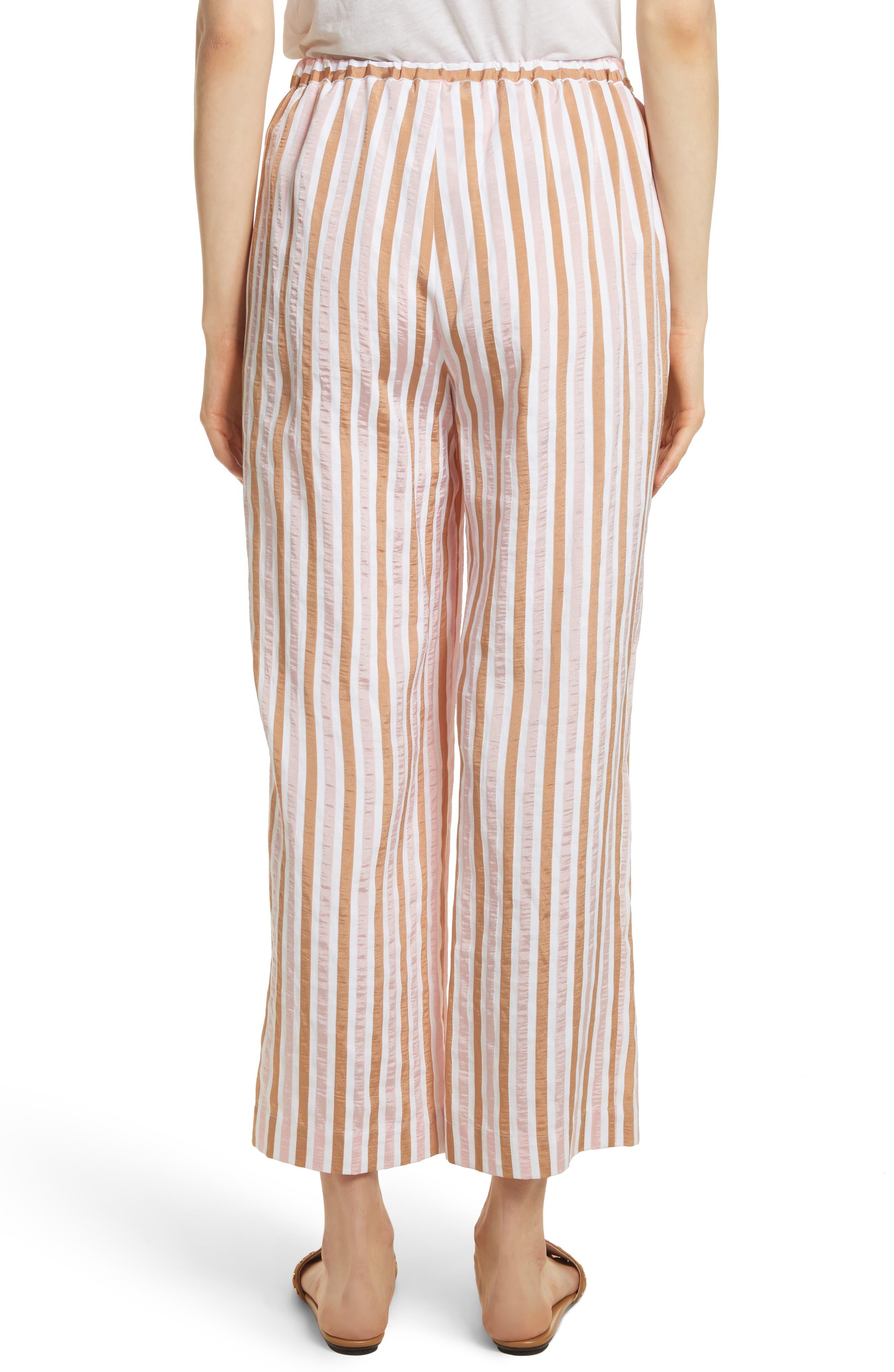 Stripe Relaxed Leg Crop Pants,                             Alternate thumbnail 3, color,                             Copper Multi