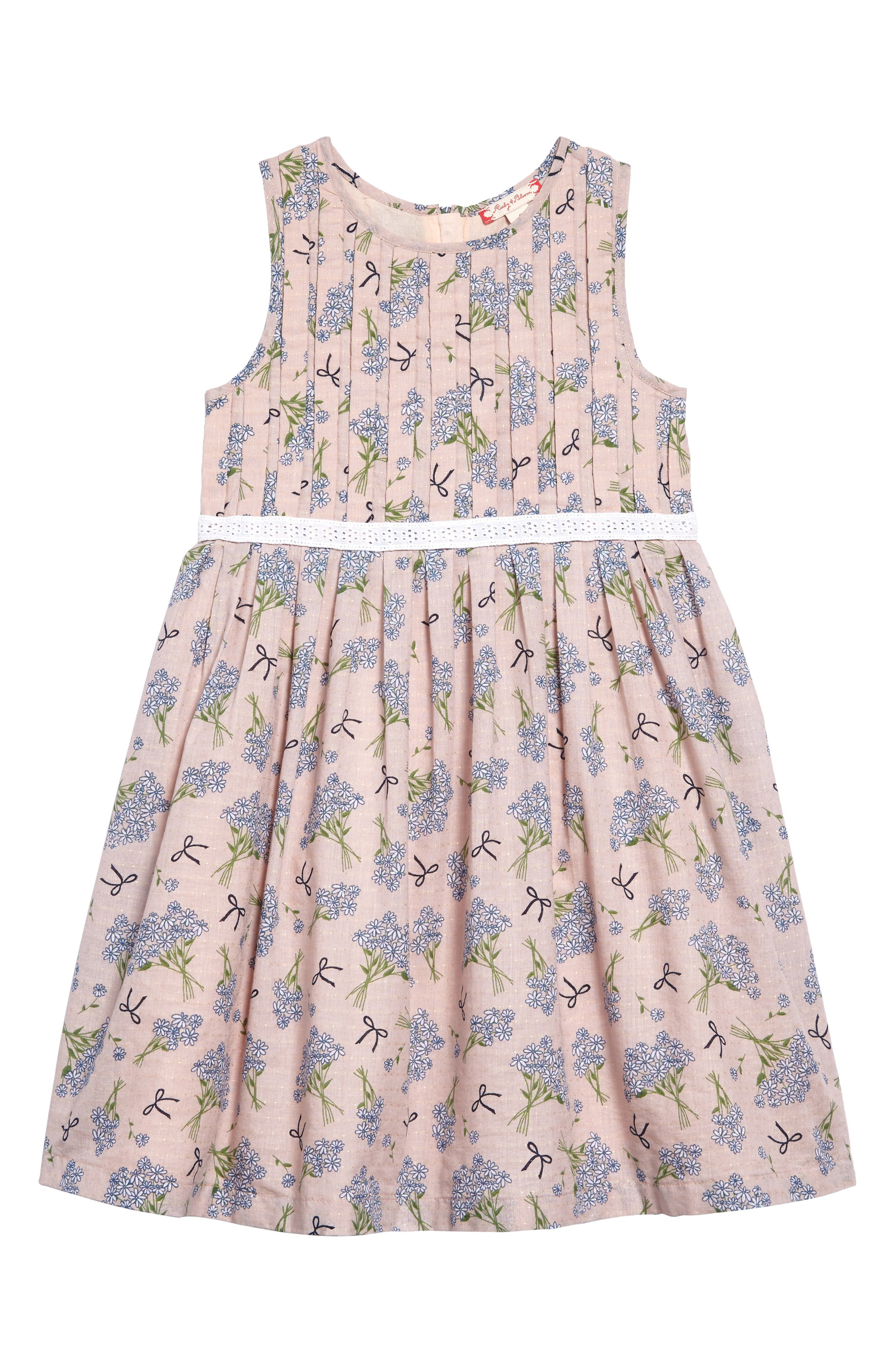 Dobby Floral Pleat Dress,                             Main thumbnail 1, color,                             Pink Peach Spring Floral