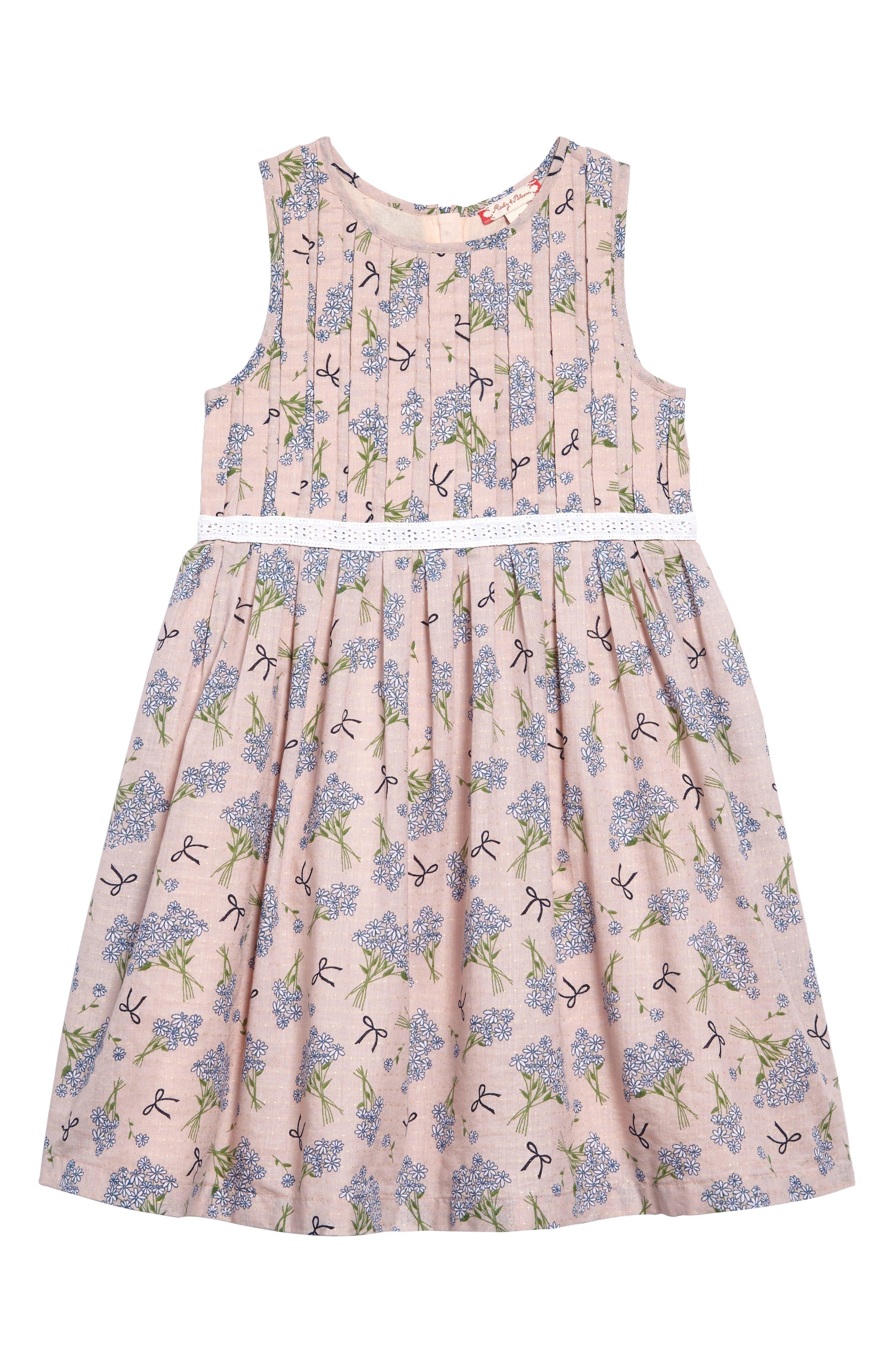 Main Image - Ruby & Bloom Dobby Floral Pleat Dress (Toddler Girls, Little Girls & Big Girls)
