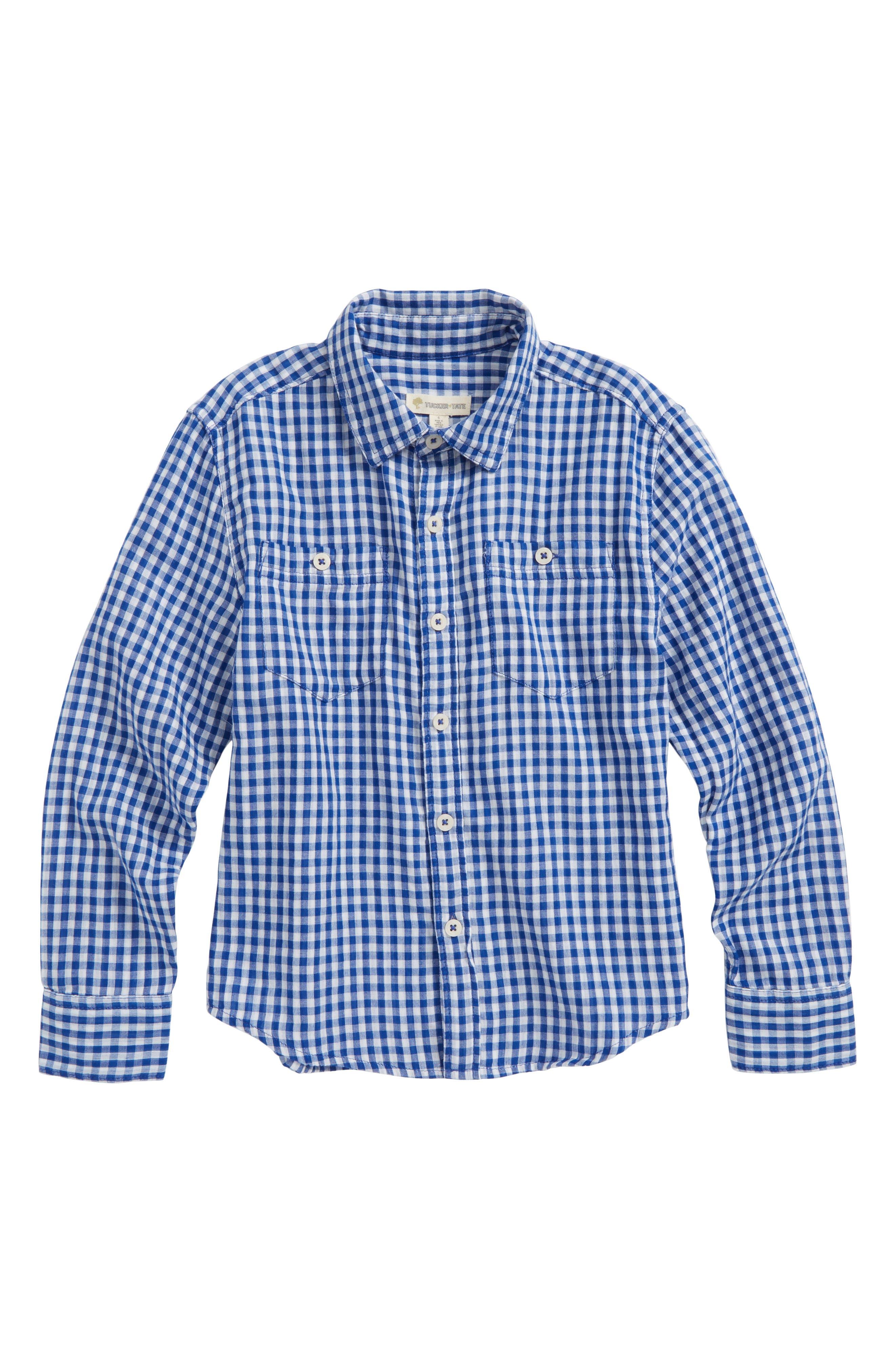 Double Cloth Shirt,                         Main,                         color, Blue Calm Gingham