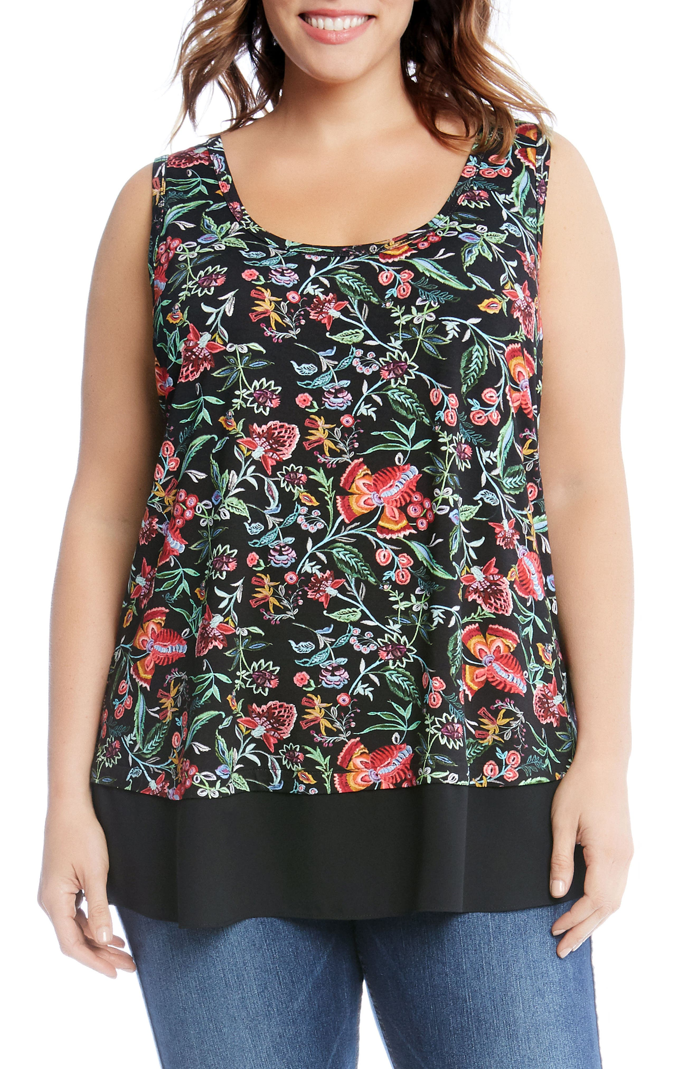 Karen Kane Sheer Hem Floral Top (Plus Size)