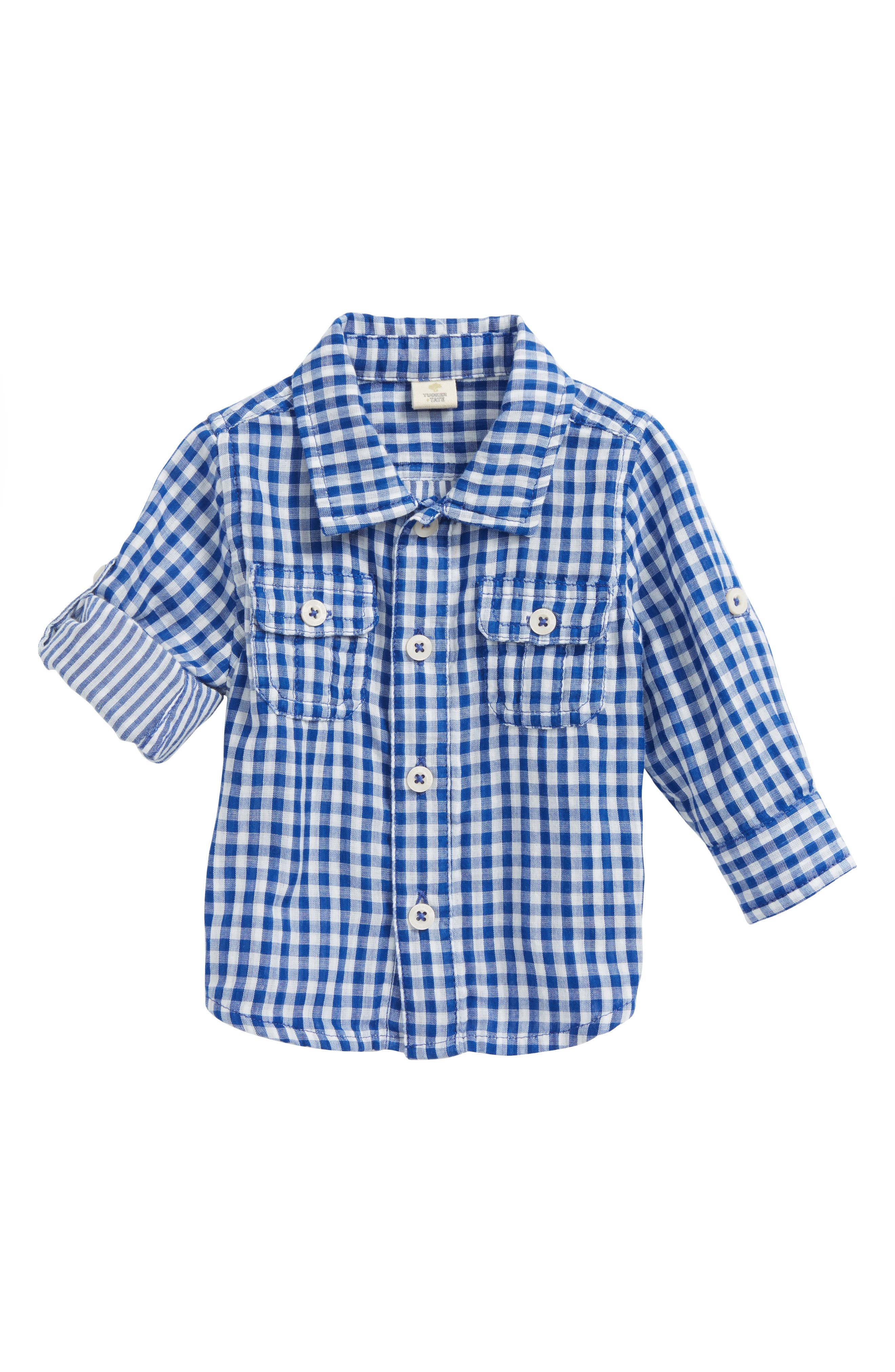 Double Woven Shirt,                             Main thumbnail 1, color,                             Blue Calm Gingham