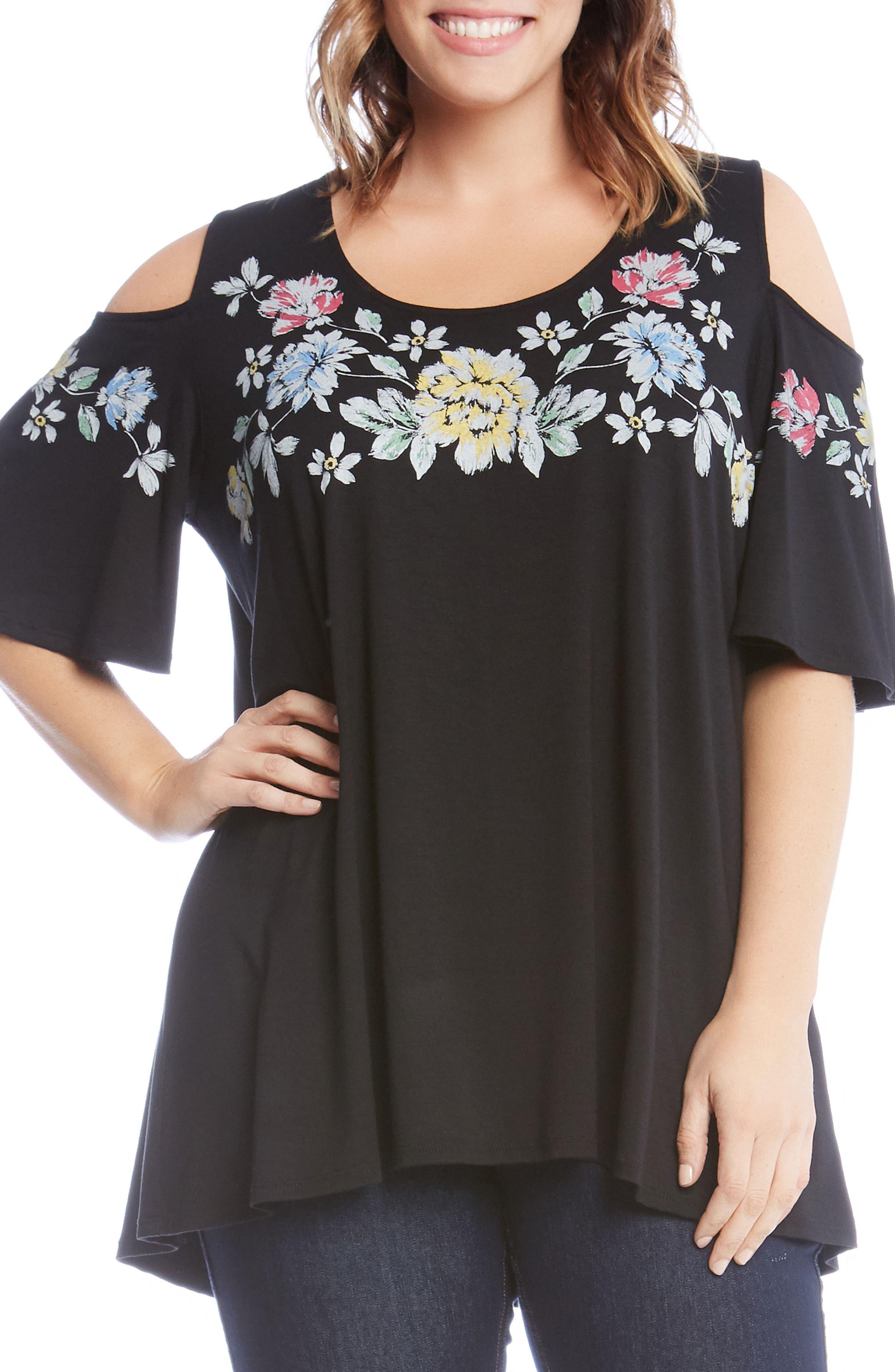 Floral Cold Shoulder Top,                         Main,                         color, Black