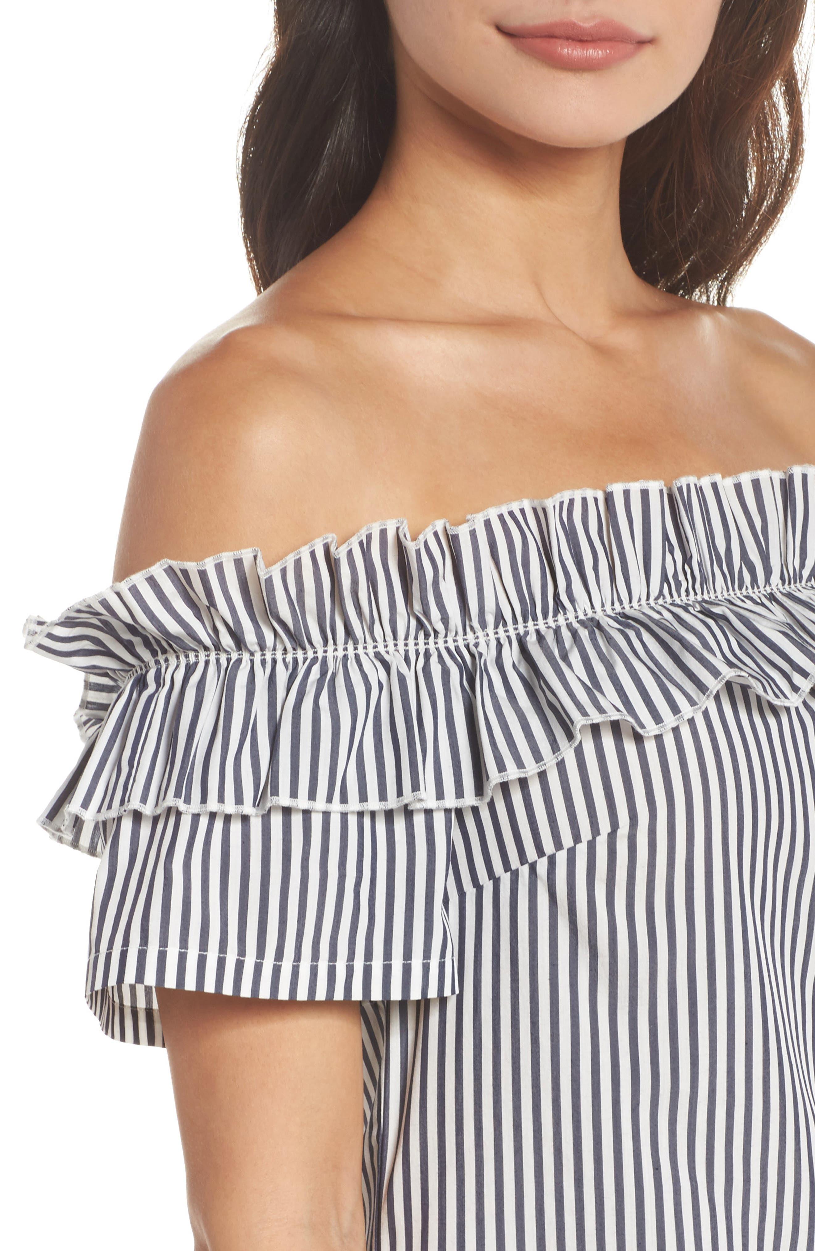 Patio Only Stripe Minidress,                             Alternate thumbnail 4, color,                             Navy/ White Mini Stripe