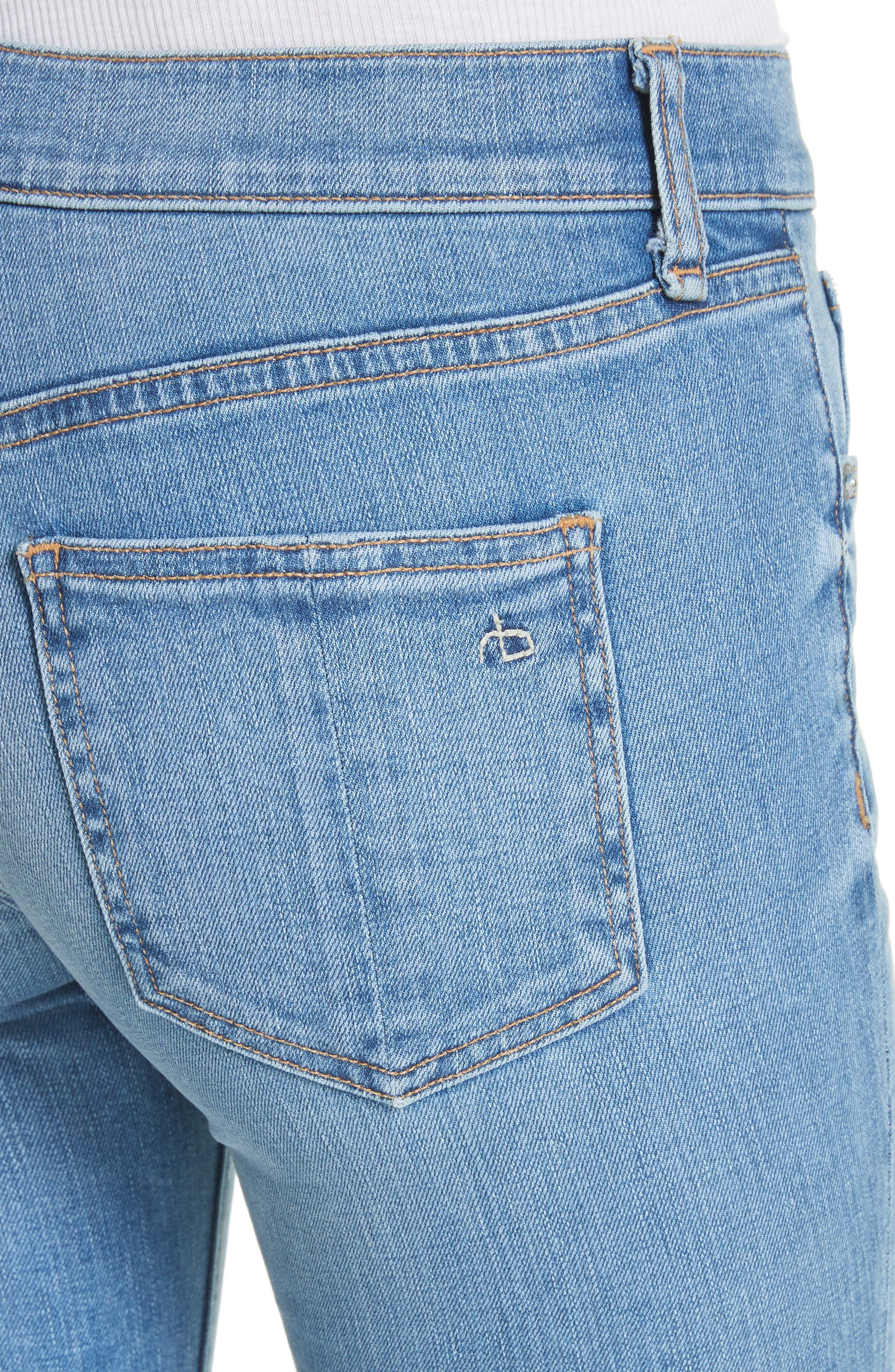 Raw Hem Capri Skinny Jeans,                             Alternate thumbnail 4, color,                             Levee