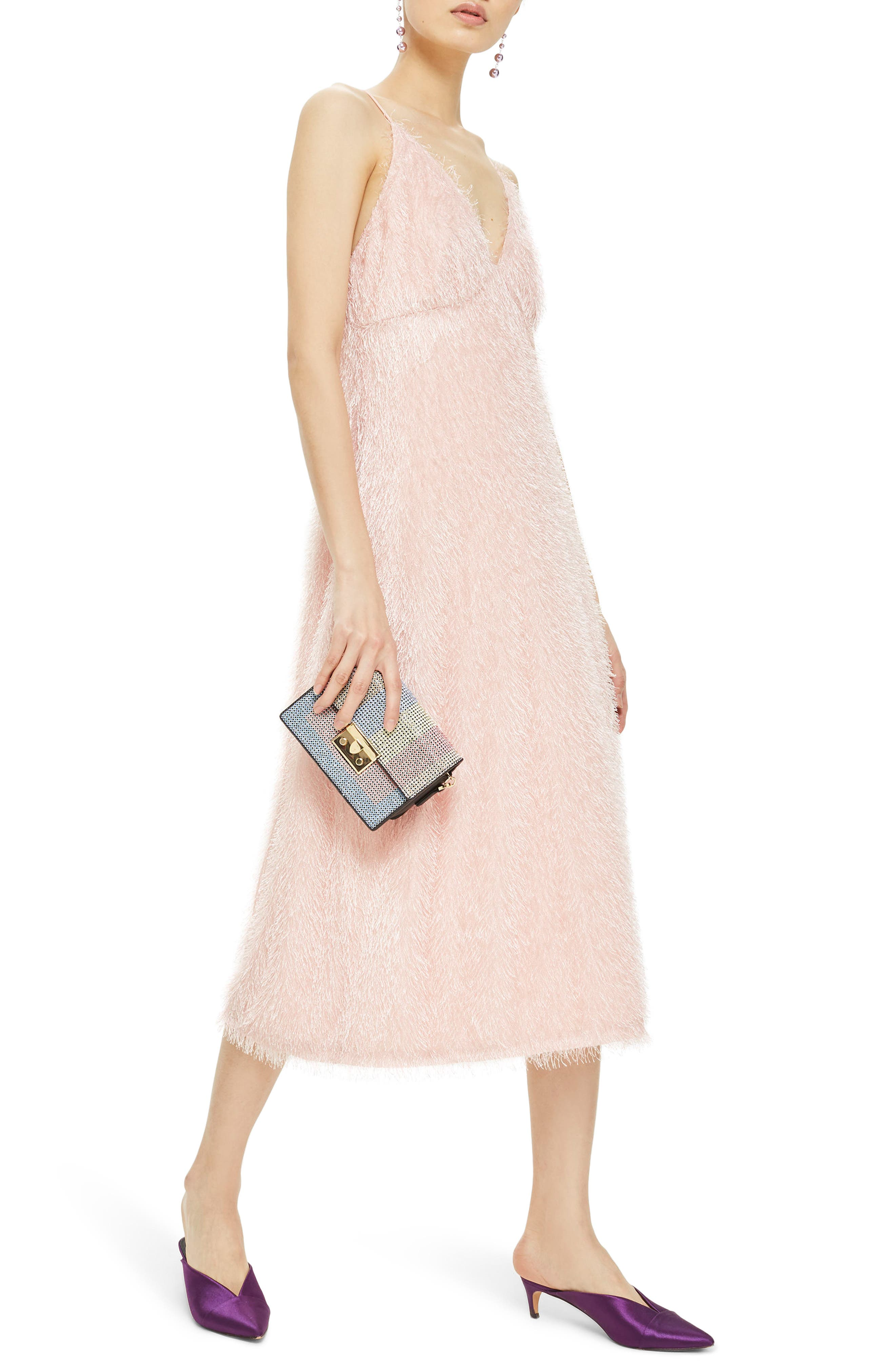 Feather Strappy Midi Dress,                             Main thumbnail 1, color,                             Blush