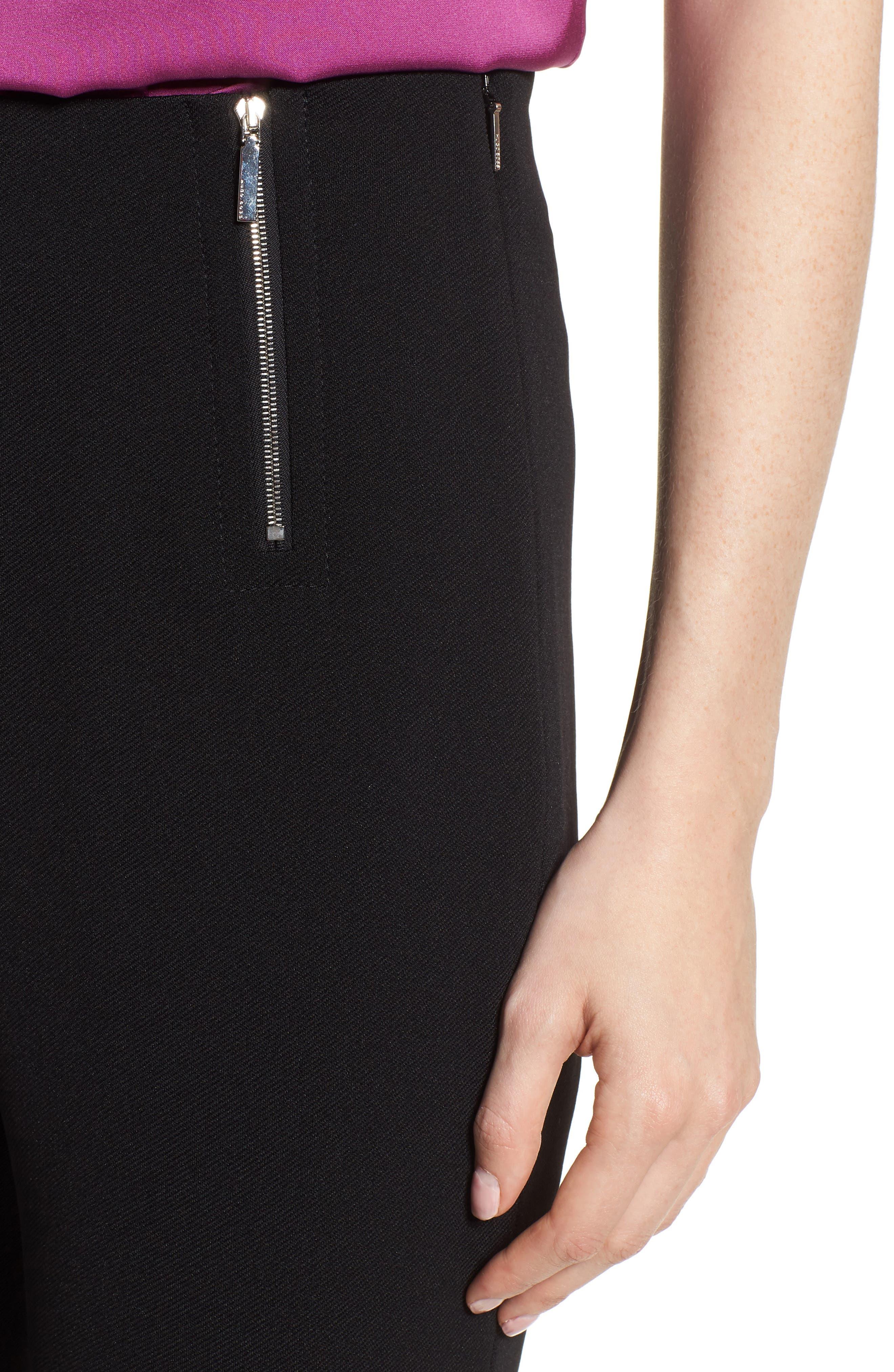 Tilezea Twill Jersey Trousers,                             Alternate thumbnail 4, color,                             Black