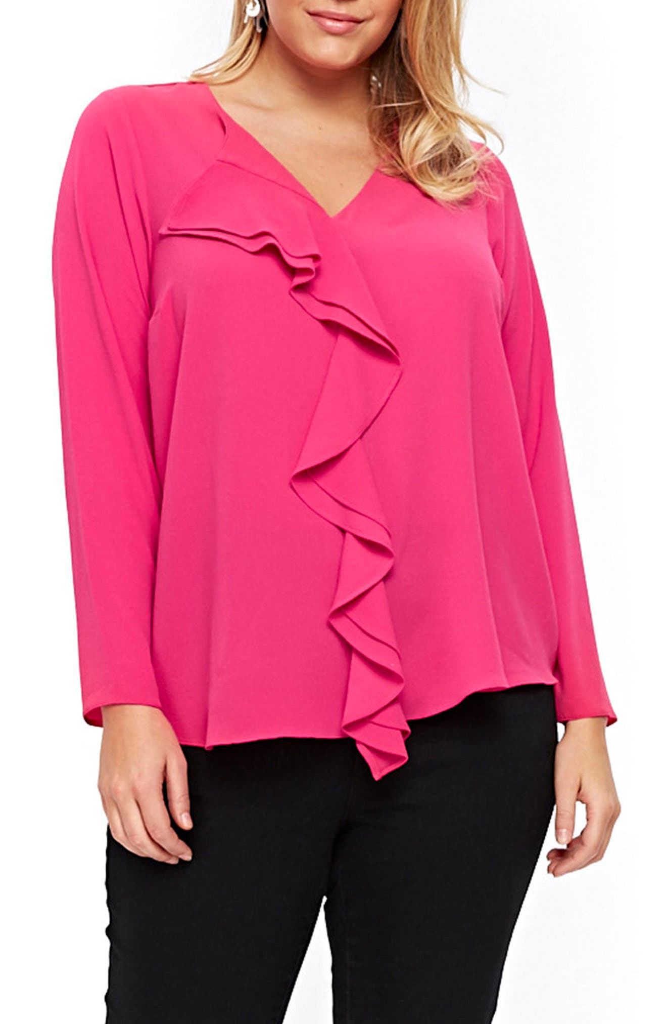 Evans Ruffle Front Top (Plus Size)