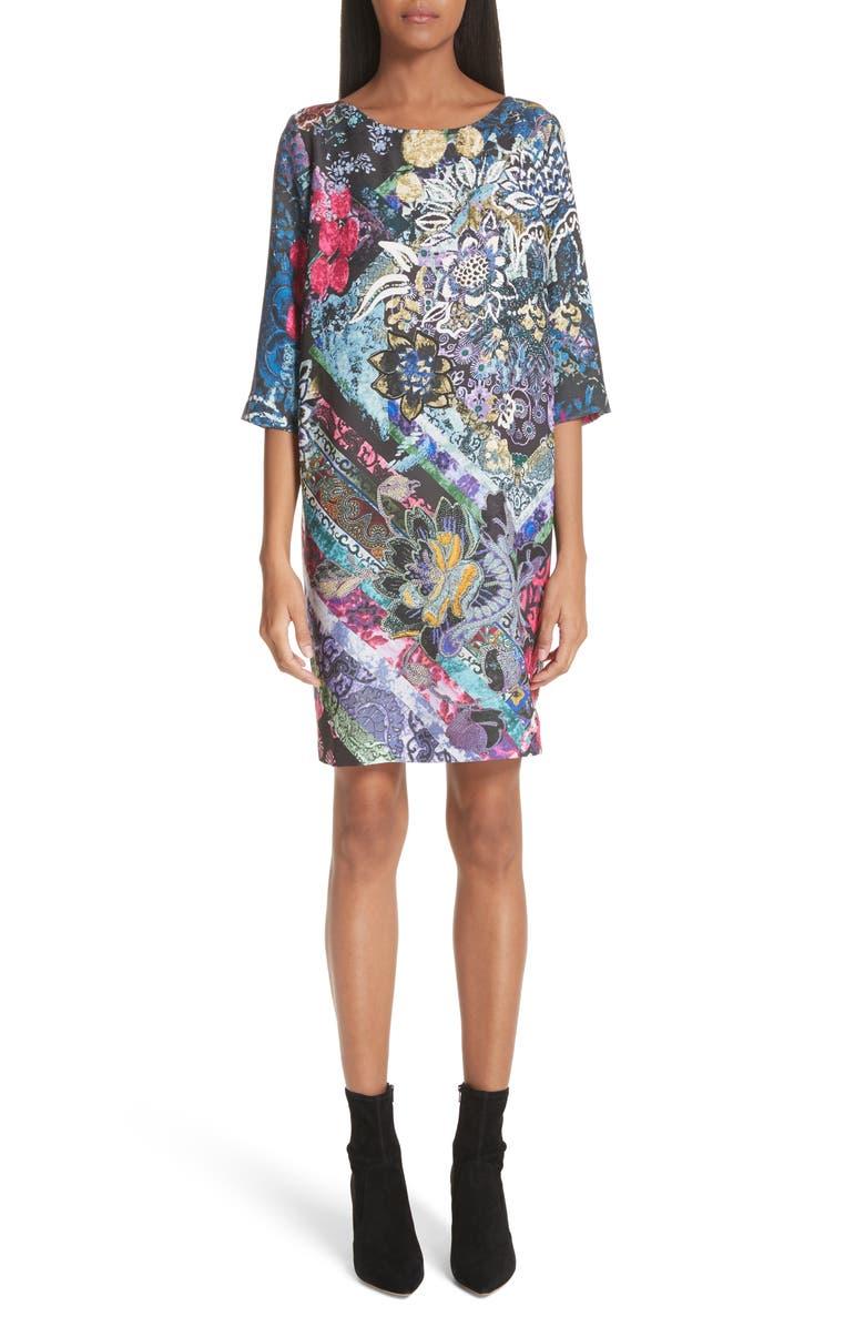 Floral Patchwork Print Tunic Dress
