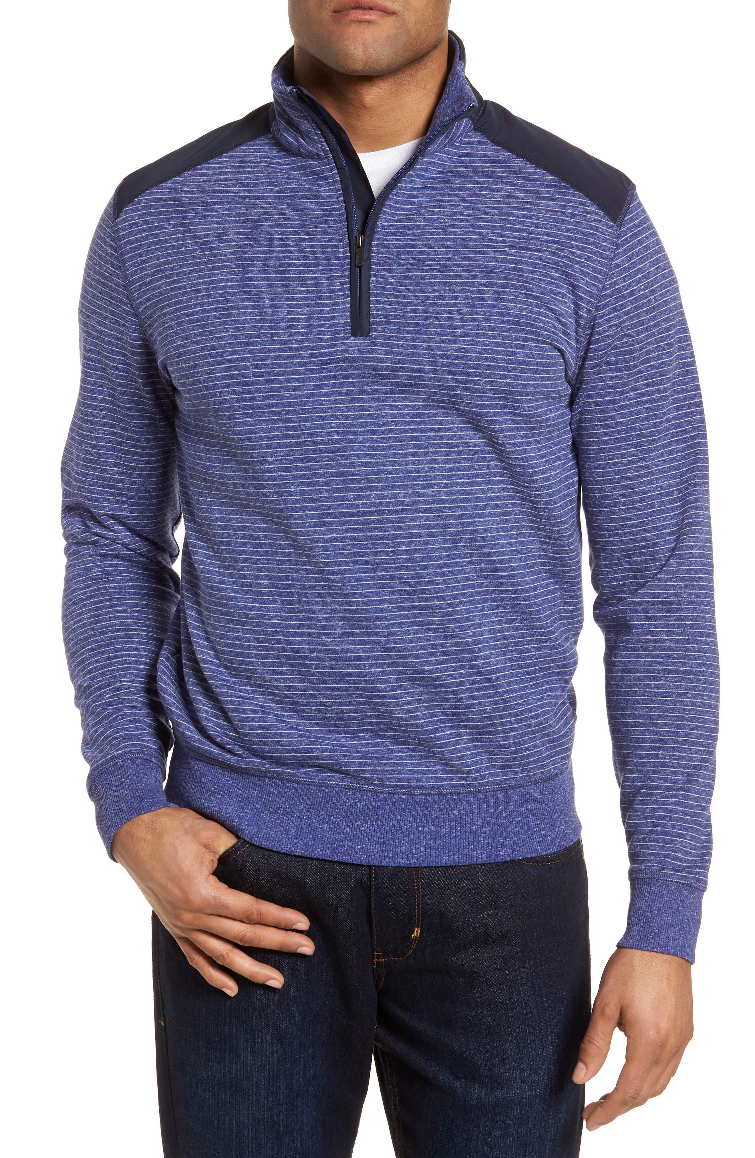 Regular Fit Stripe Quarter Zip Pullover,                         Main,                         color, Night Blue