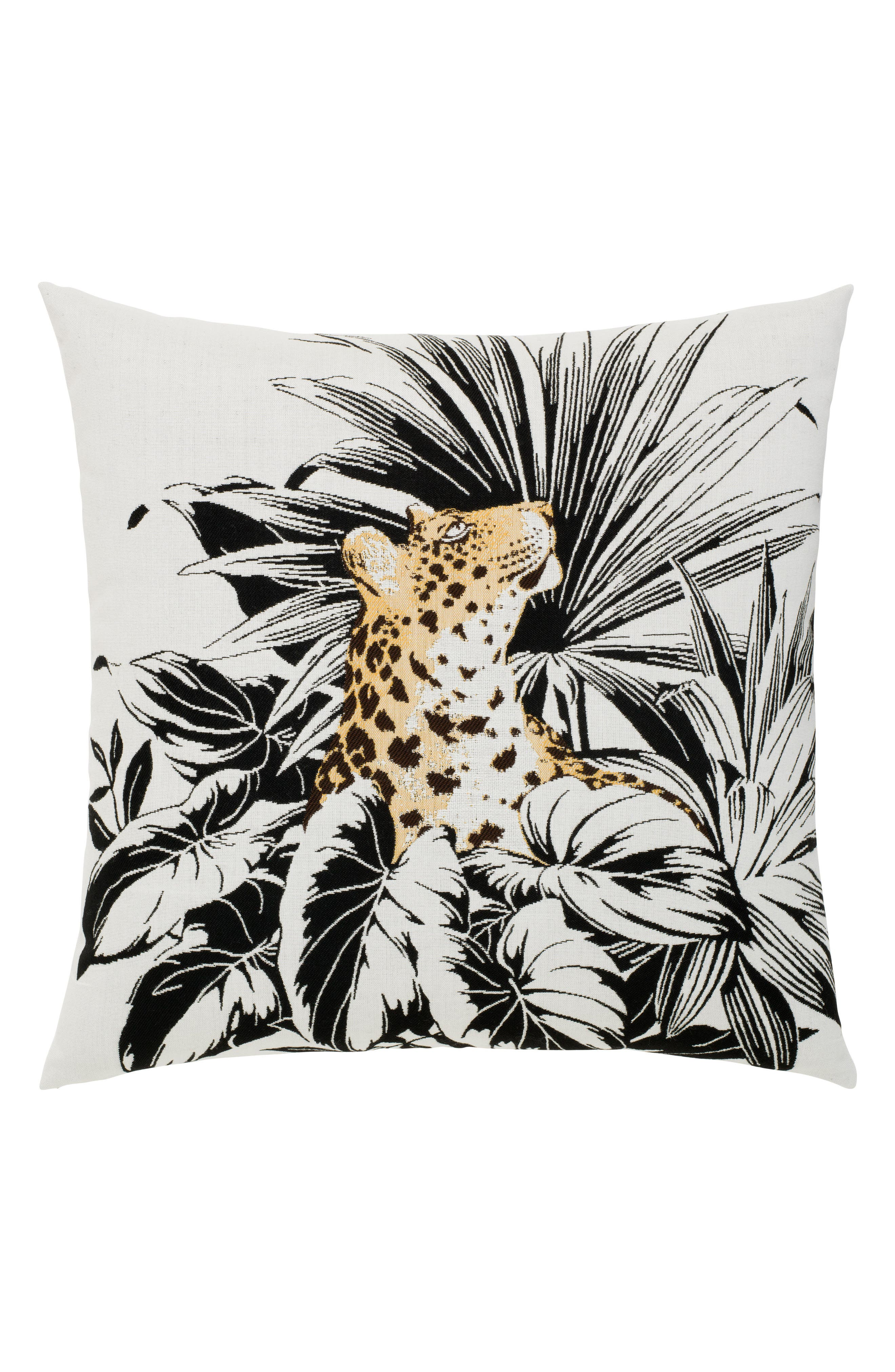Jungle Leopard Indoor/Outdoor Accent Pillow,                             Main thumbnail 1, color,                             Black/ White