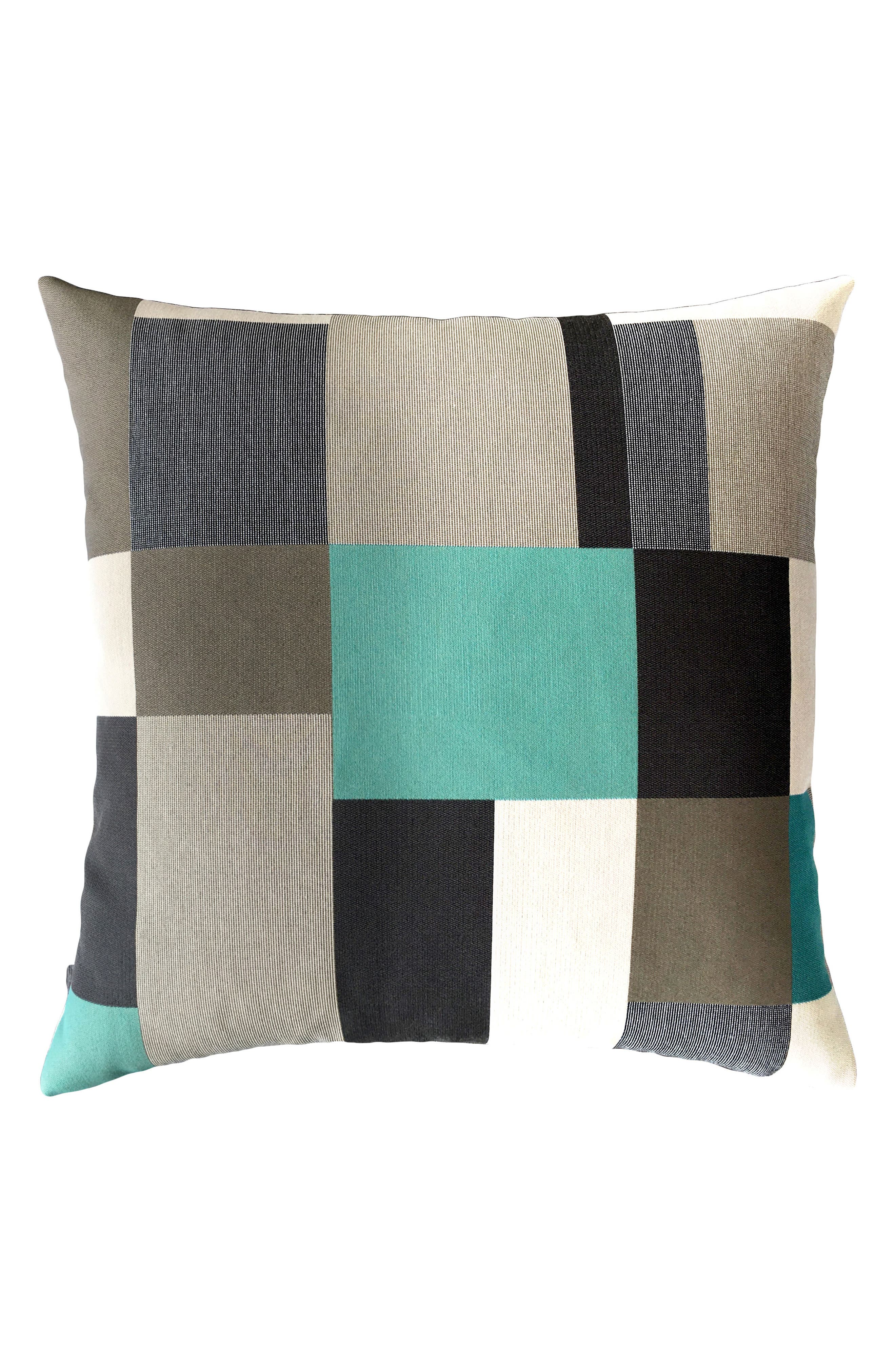 Noir Block Indoor/Outdoor Accent Pillow,                             Main thumbnail 1, color,                             Blue/ Black