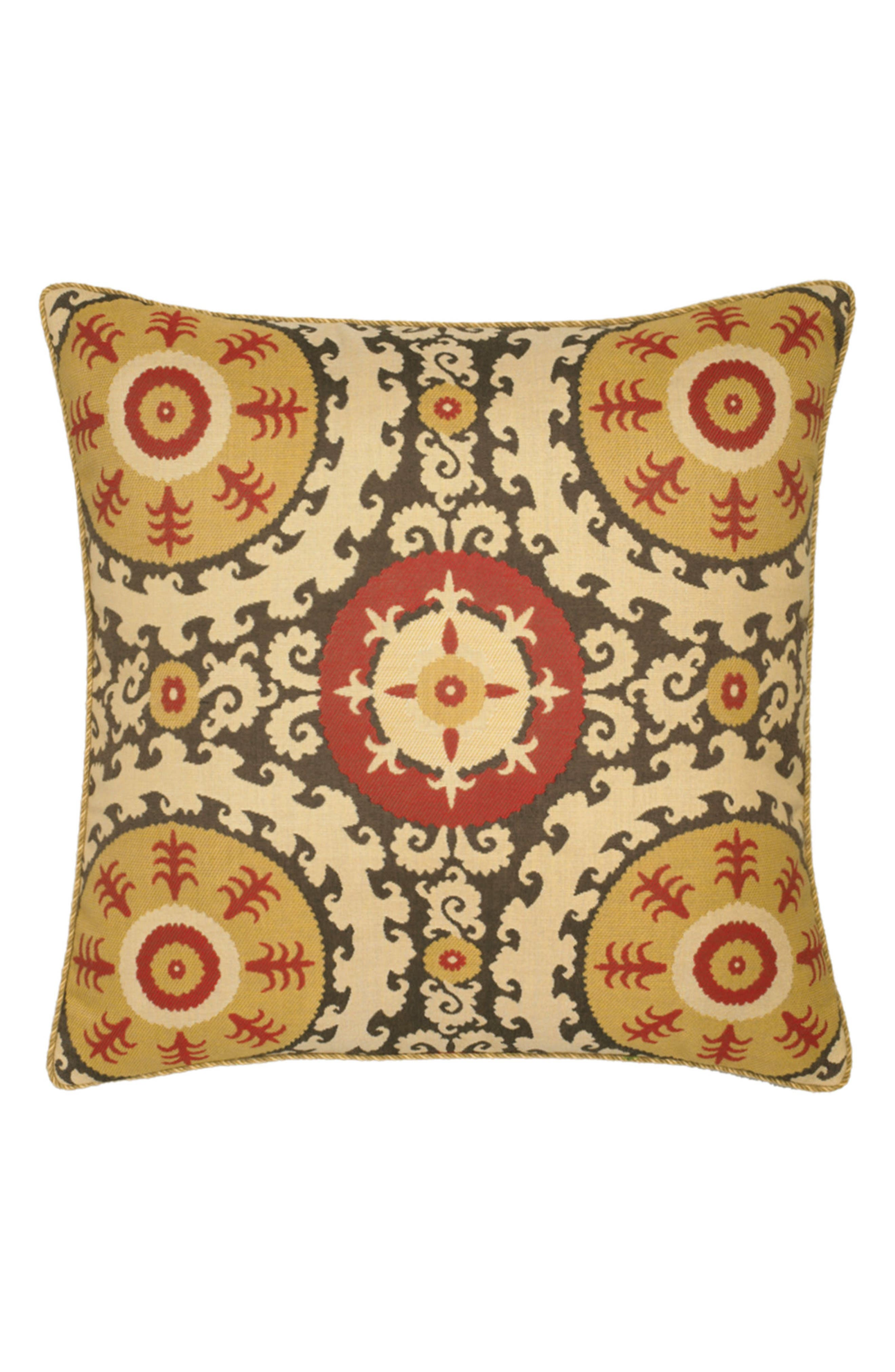 Suzani Indoor/Outdoor Accent Pillow,                             Main thumbnail 1, color,                             Gold/ Red
