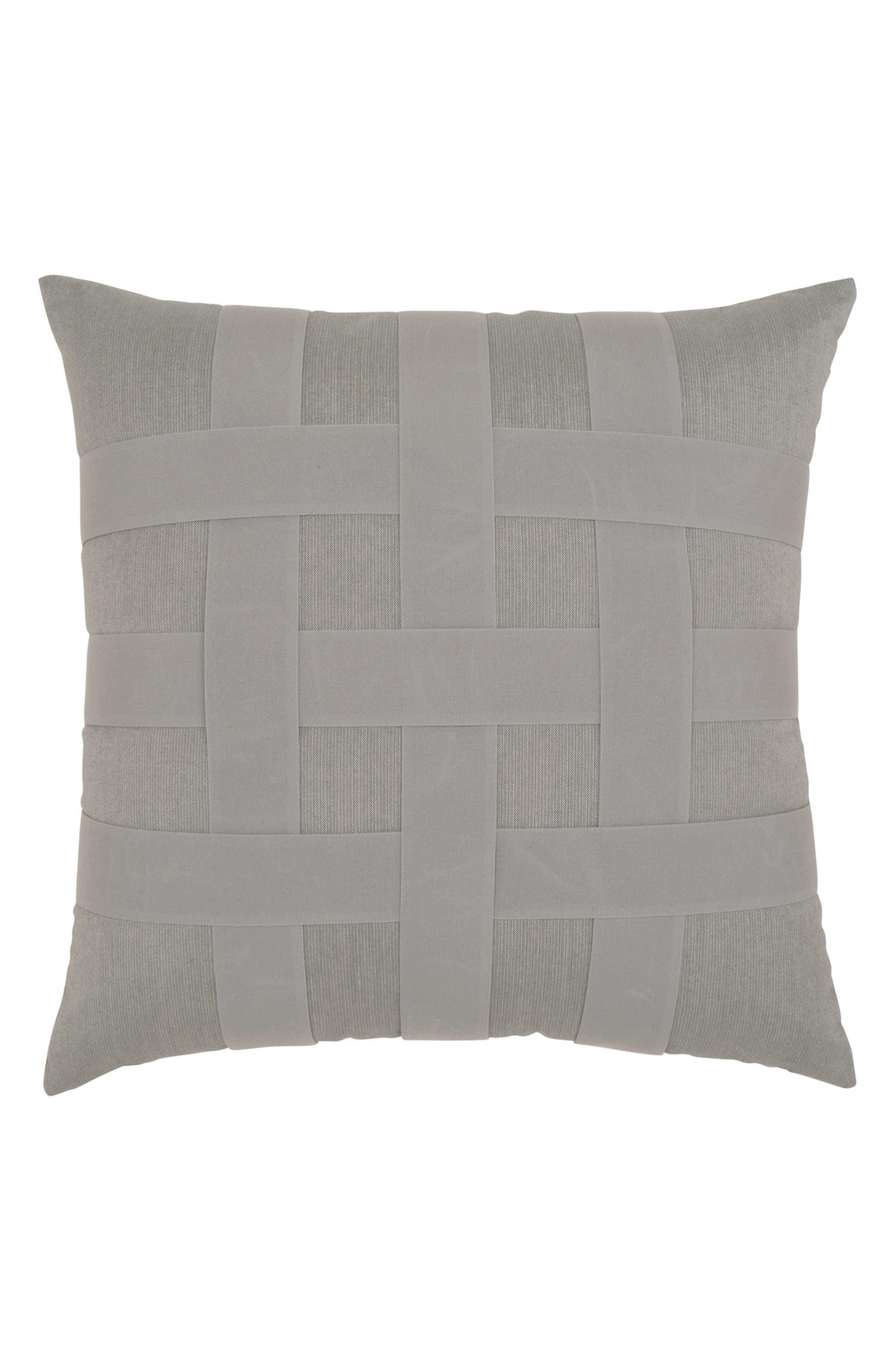 Basket Weave Indoor/Outdoor Accent Pillow,                         Main,                         color, Grey