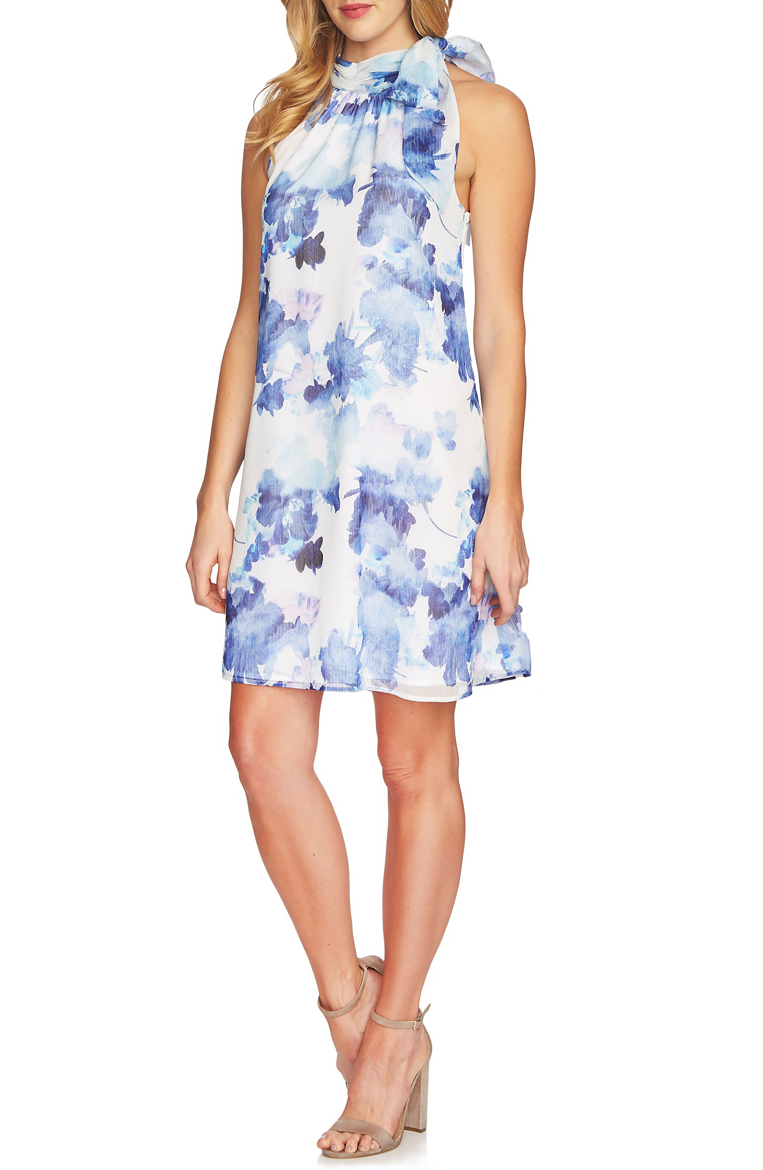 Dreamy Floral Tie Neck Halter Dress,                             Main thumbnail 1, color,                             Ultra White