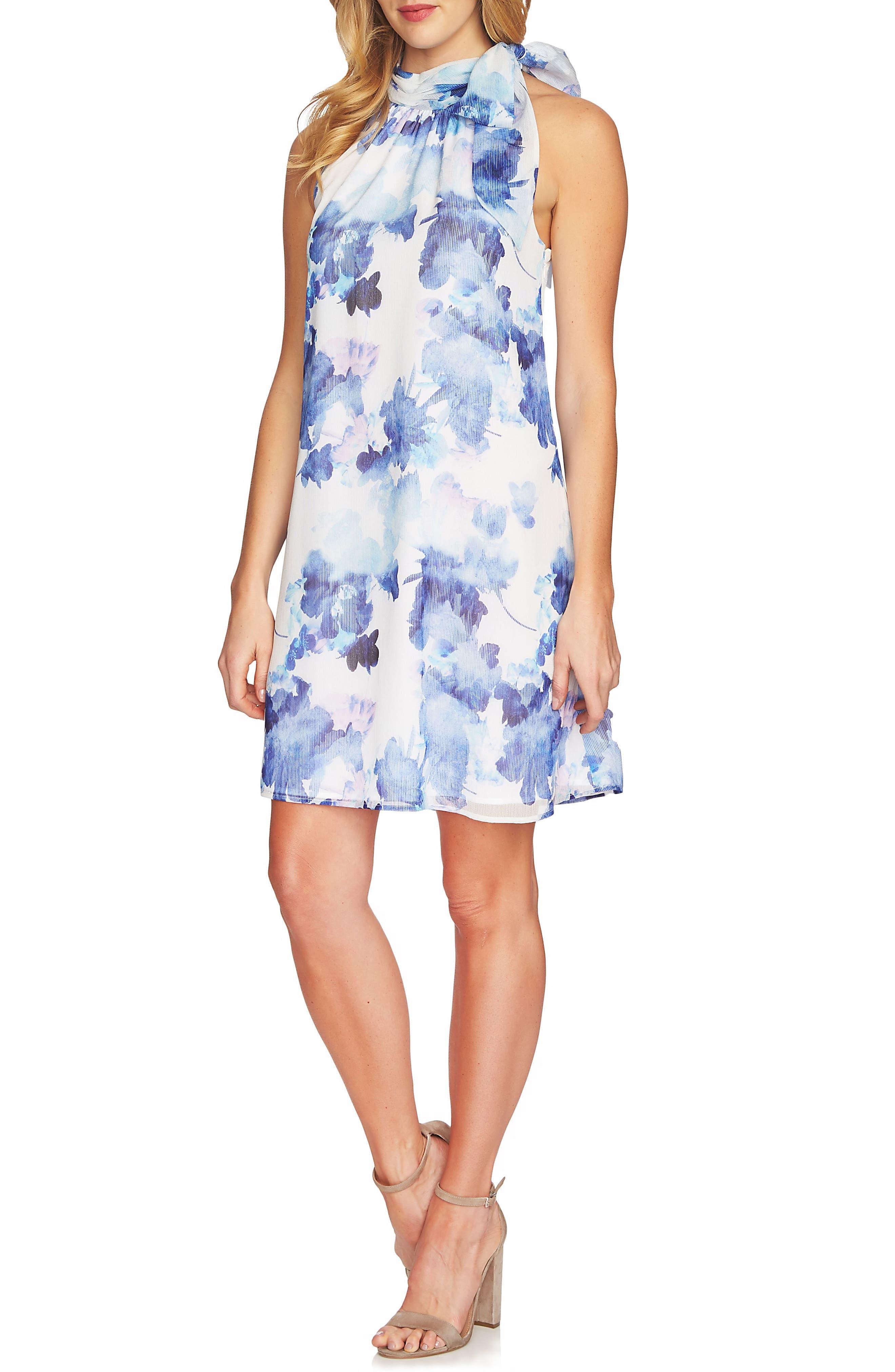 Dreamy Floral Tie Neck Halter Dress,                         Main,                         color, Ultra White