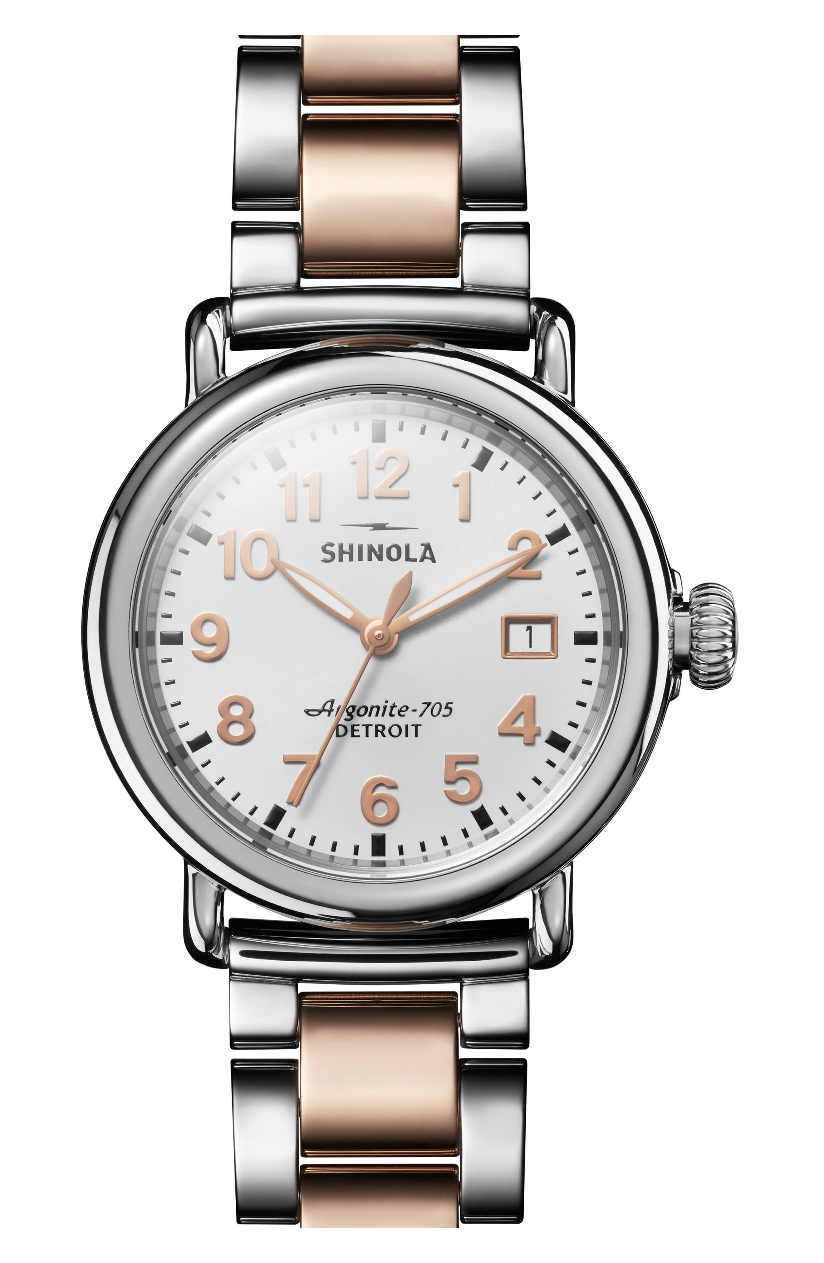 The Runwell Bracelet Watch, 36mm,                         Main,                         color, Rose Gold/ White/ Silver