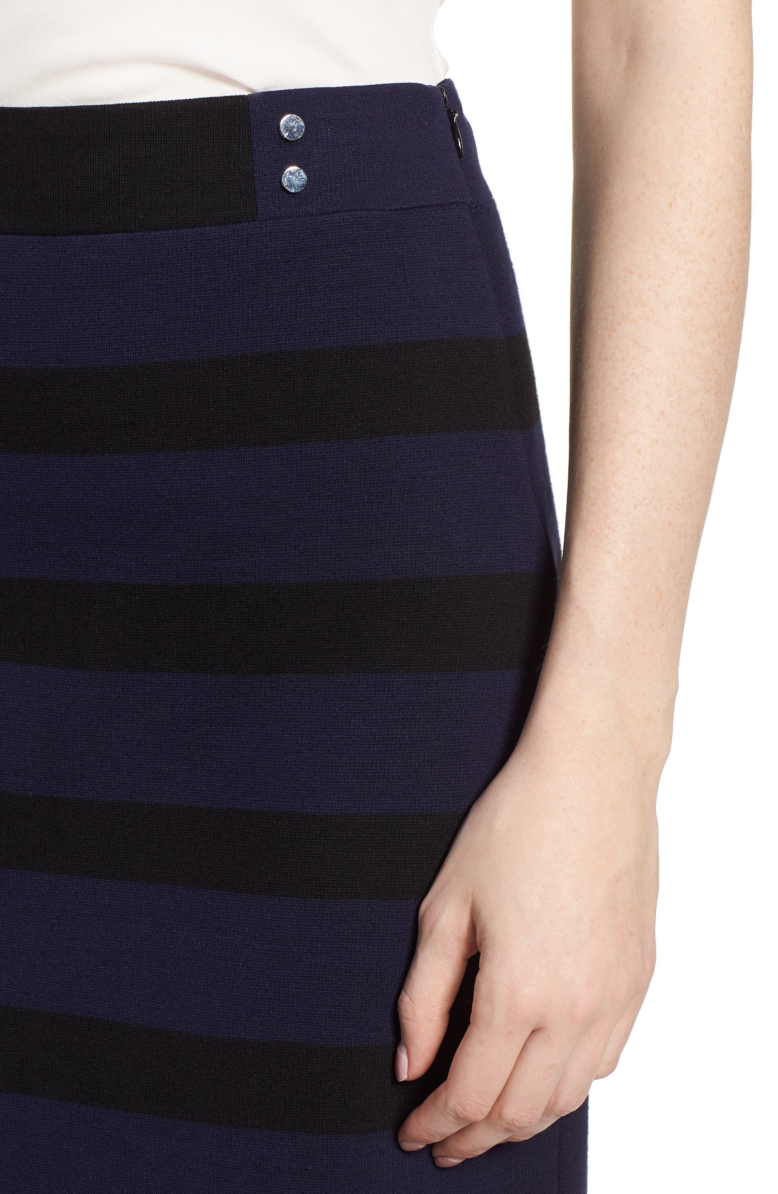 Ebienne Stripe Pencil Skirt,                             Alternate thumbnail 4, color,                             Nautical Blue Fantasy
