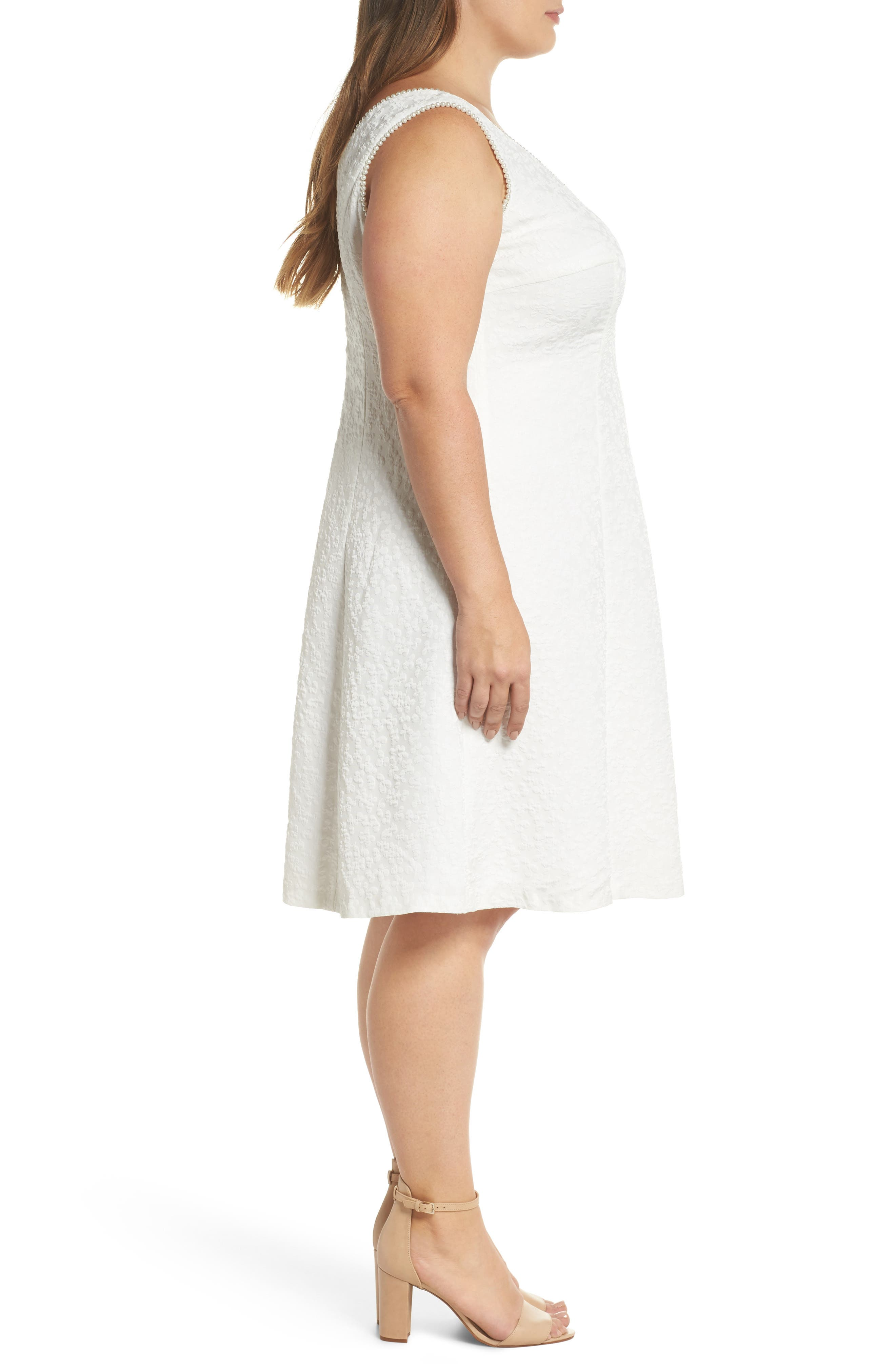 Textured Fit & Flare Dress,                             Alternate thumbnail 3, color,                             White
