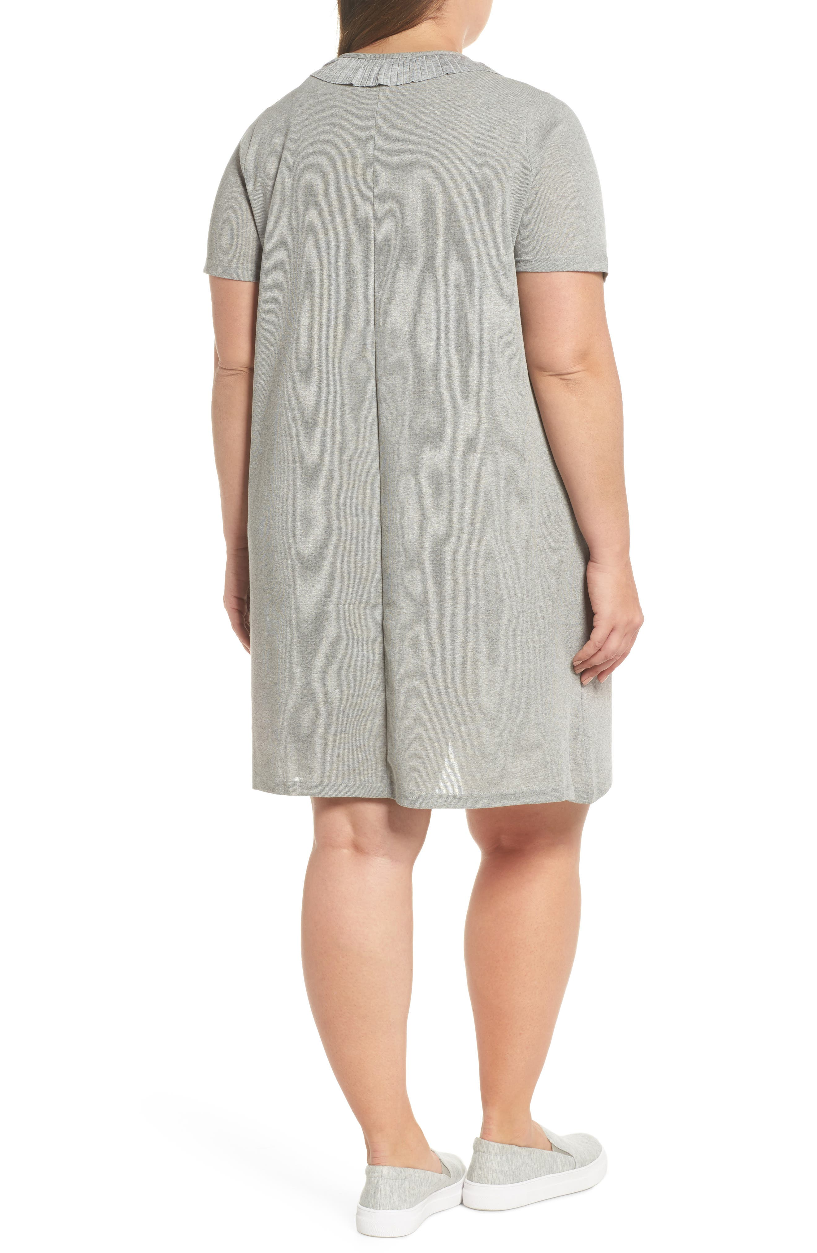 Pleated Frill Swing Dress,                             Alternate thumbnail 2, color,                             Grey