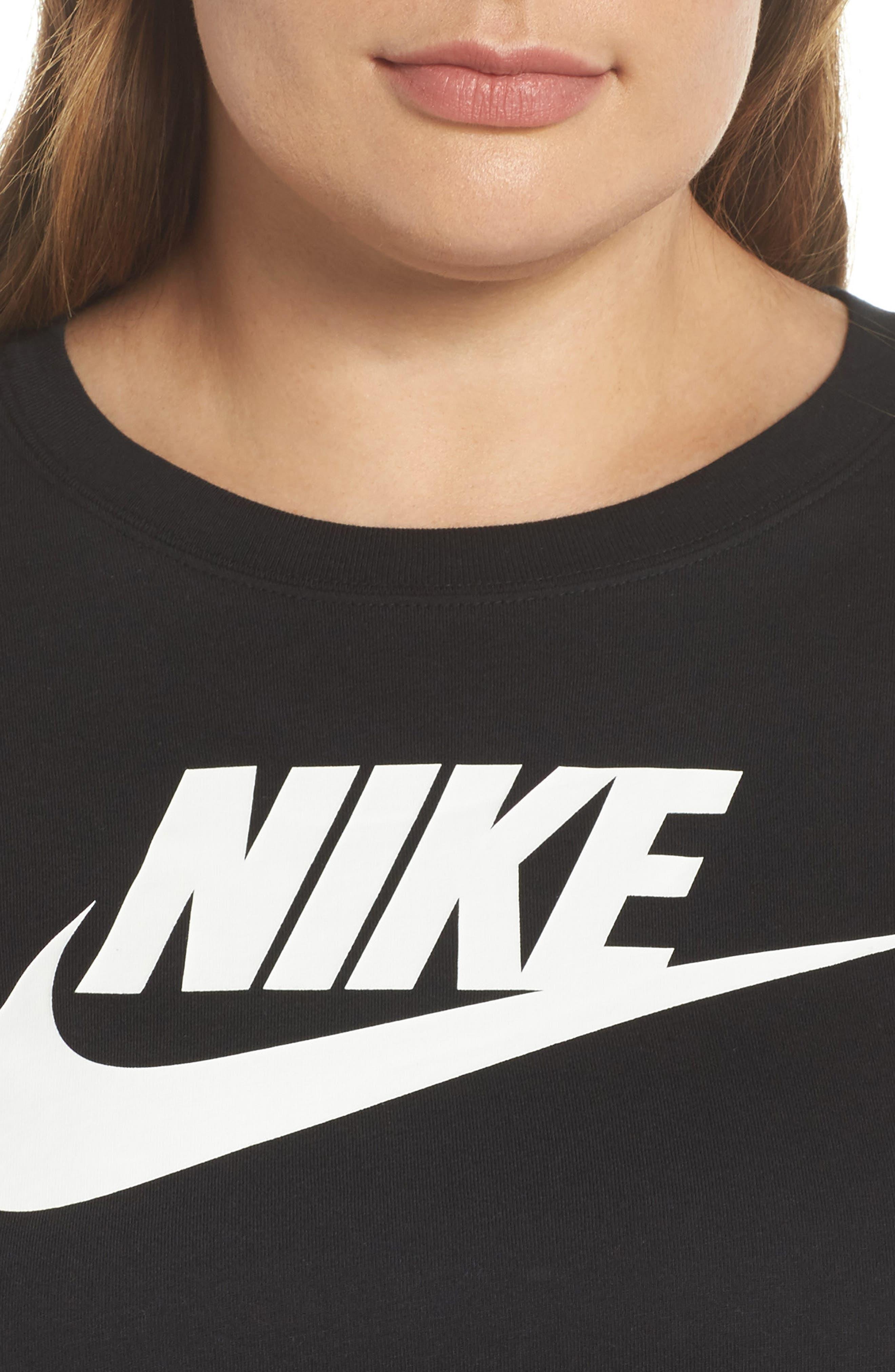 Sportswear Long Sleeve Tee,                             Alternate thumbnail 4, color,                             Black/ White