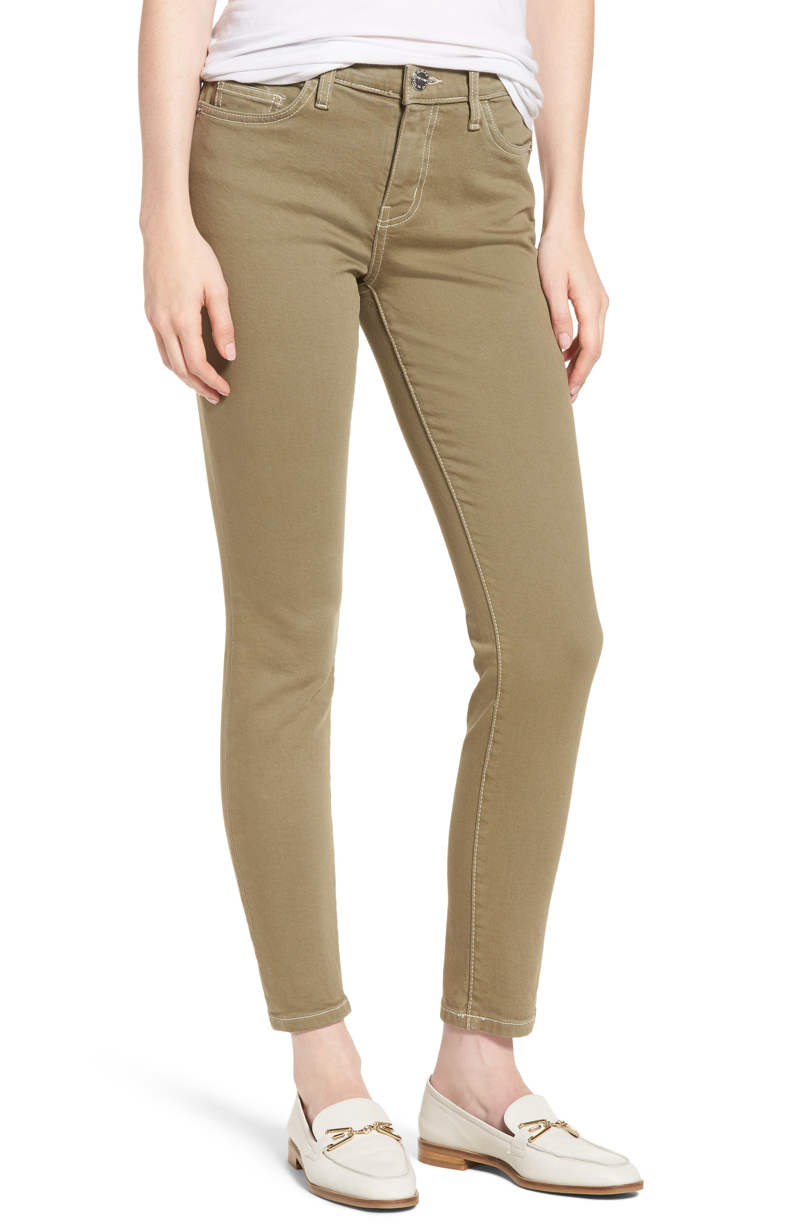 The Stiletto Ankle Skinny Jeans,                             Main thumbnail 1, color,                             Covert Green