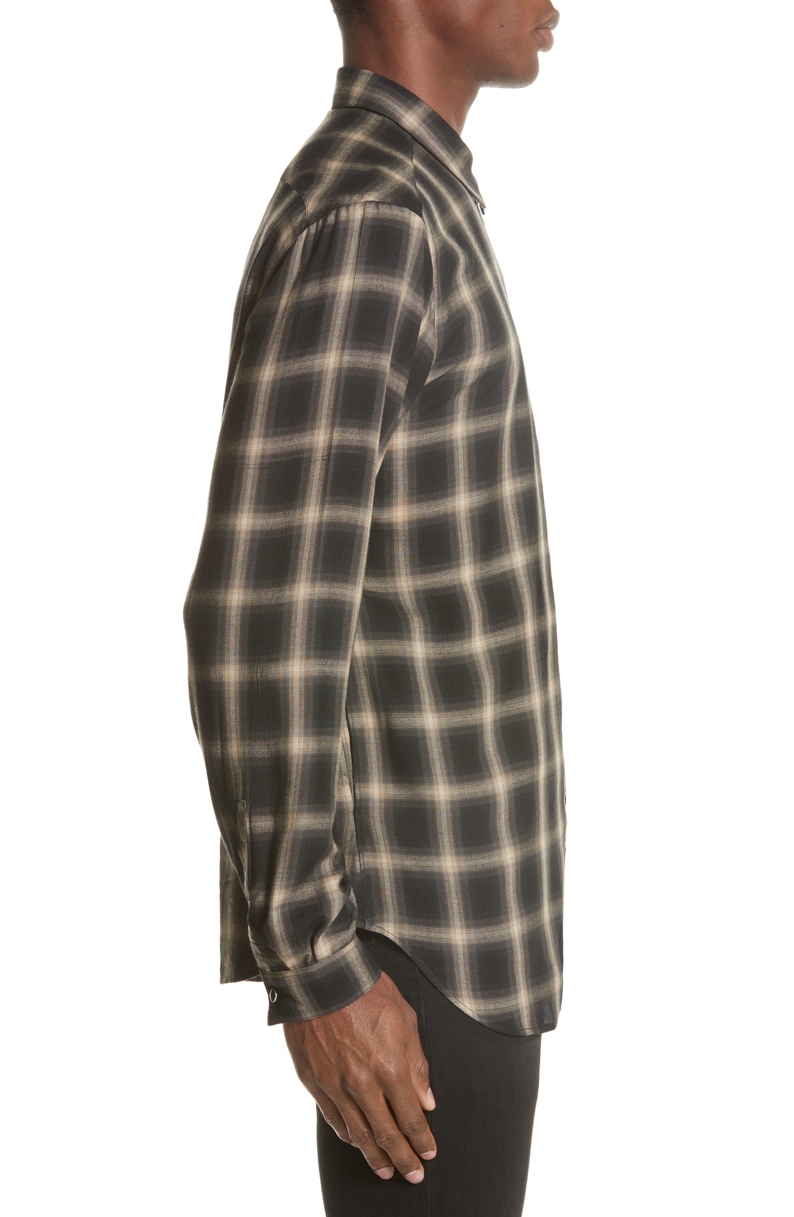 Check Woven Shirt,                             Alternate thumbnail 3, color,                             Grey