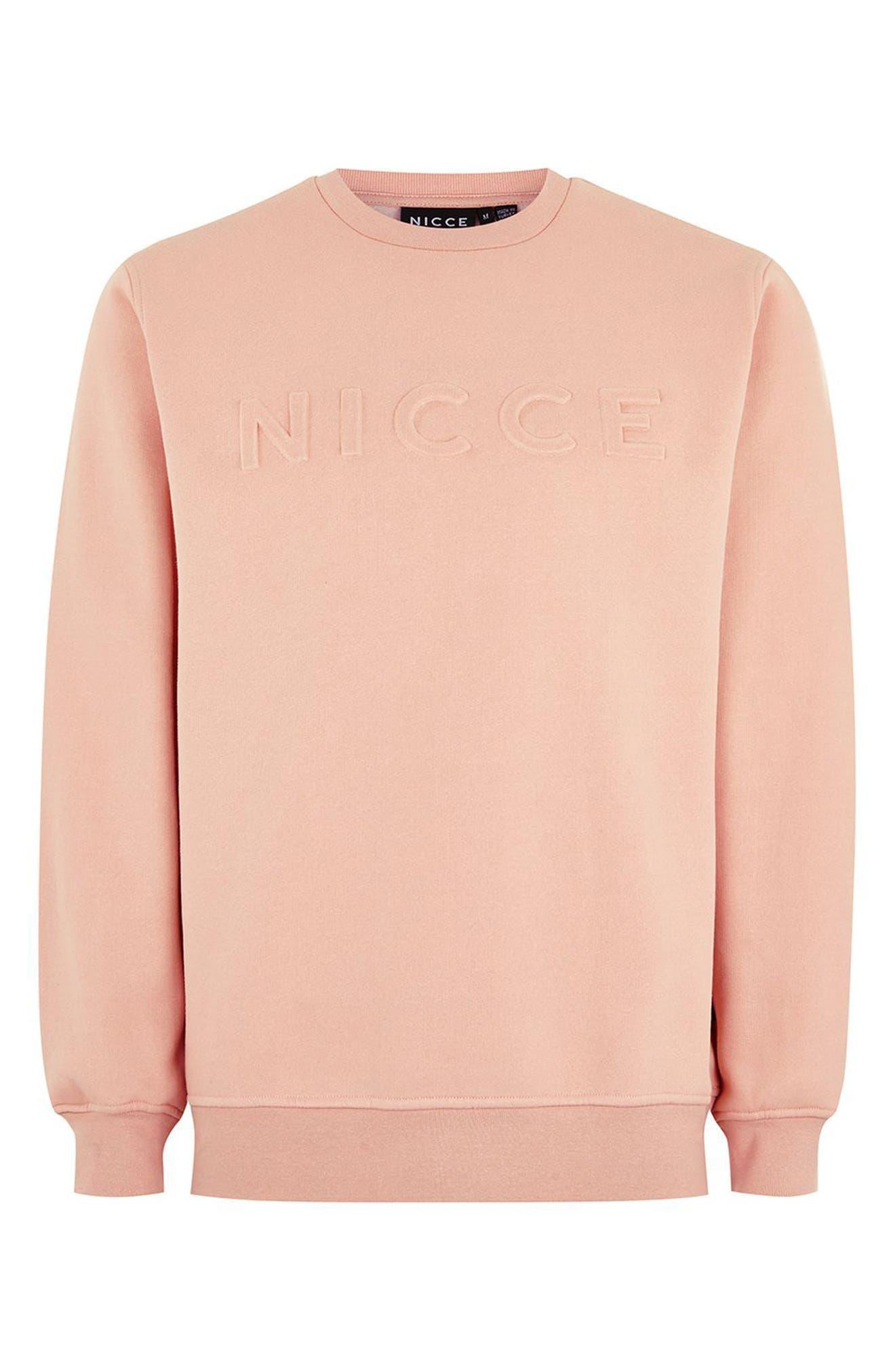 NICCE Slim Fit Embossed Sweatshirt,                             Alternate thumbnail 4, color,                             Pink