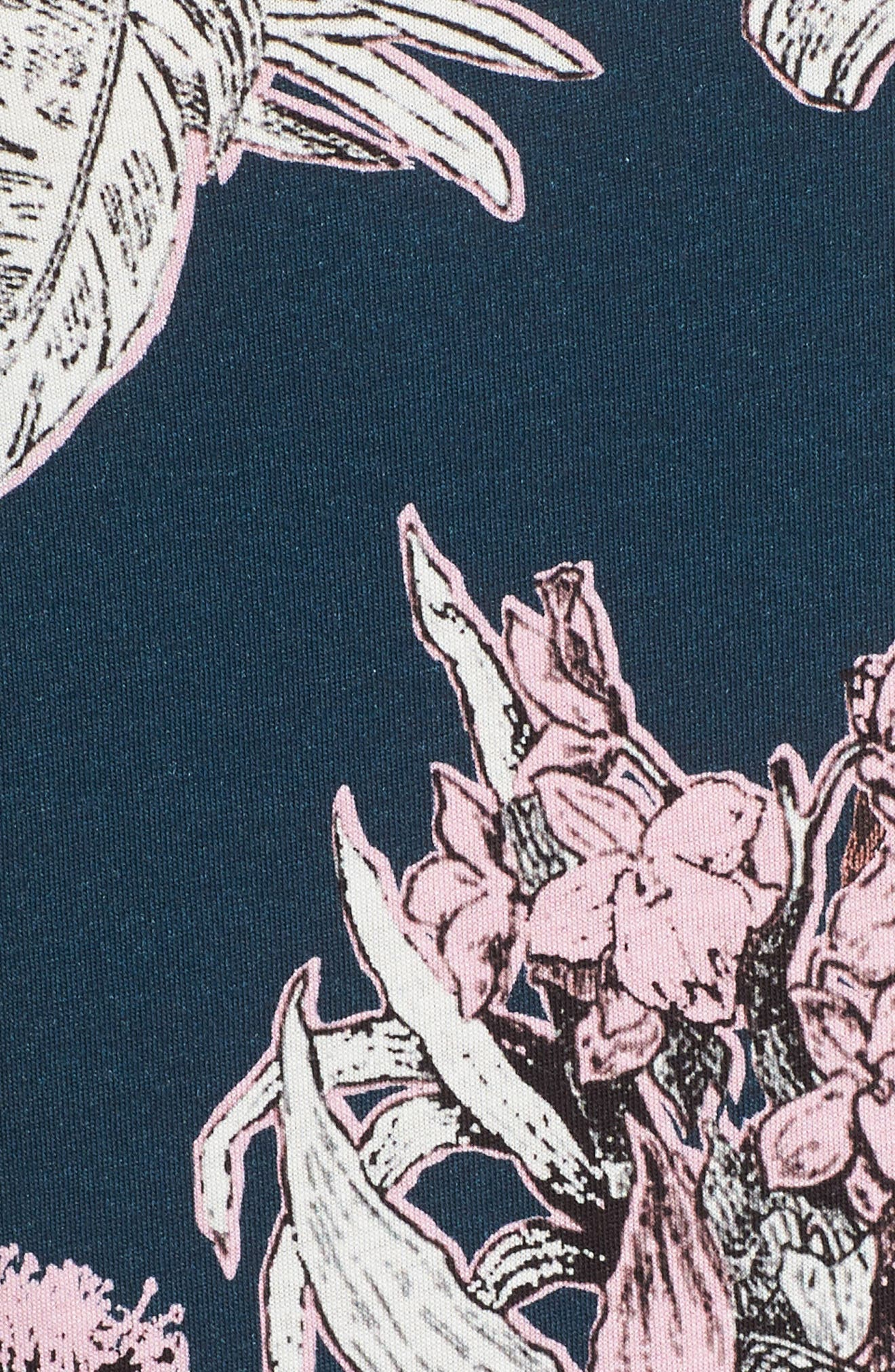 Trim Fit Print T-Shirt,                             Alternate thumbnail 5, color,                             Navy