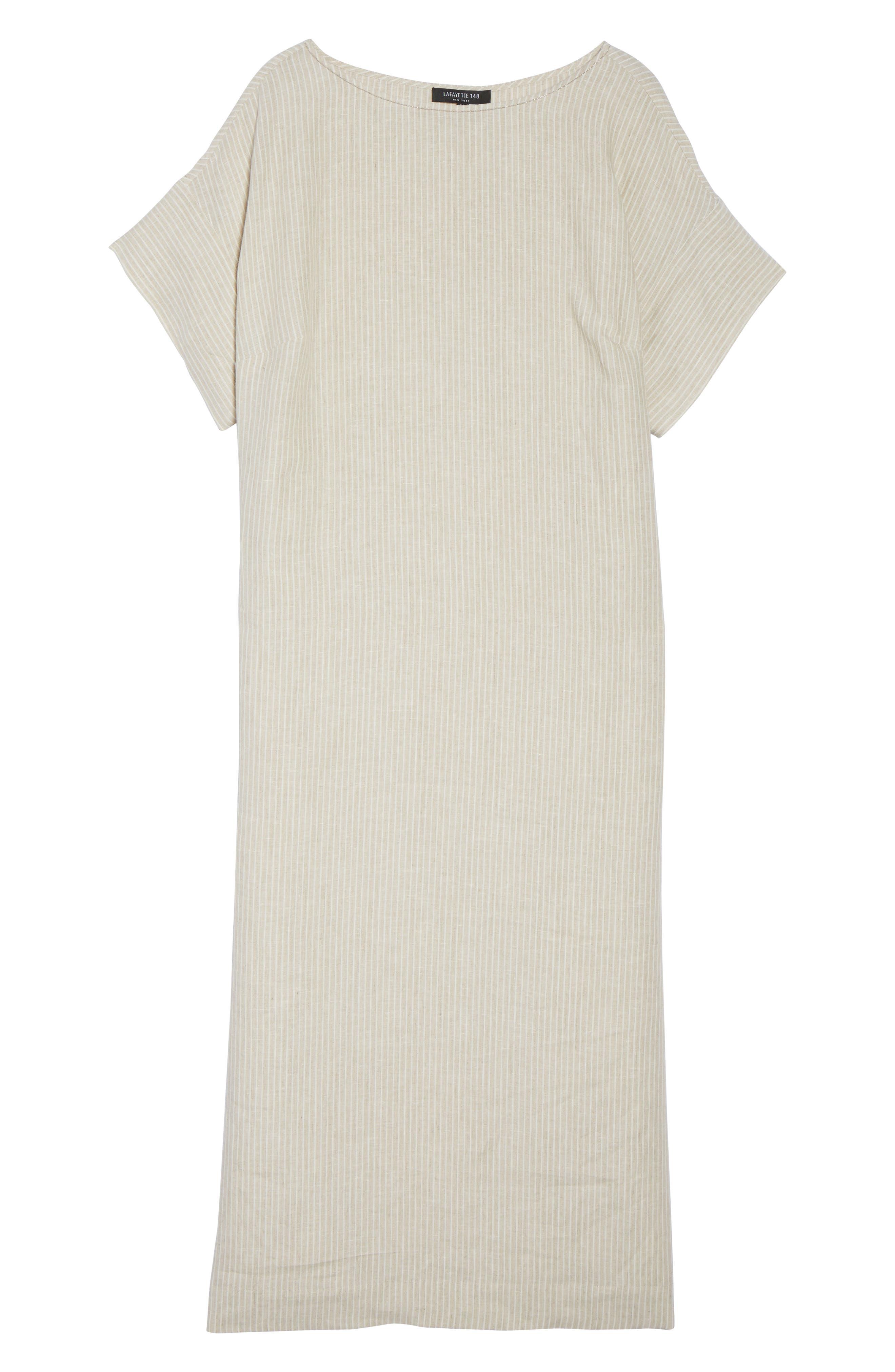 Emiline Stripe Linen Dress,                             Alternate thumbnail 6, color,                             Tahini Multi