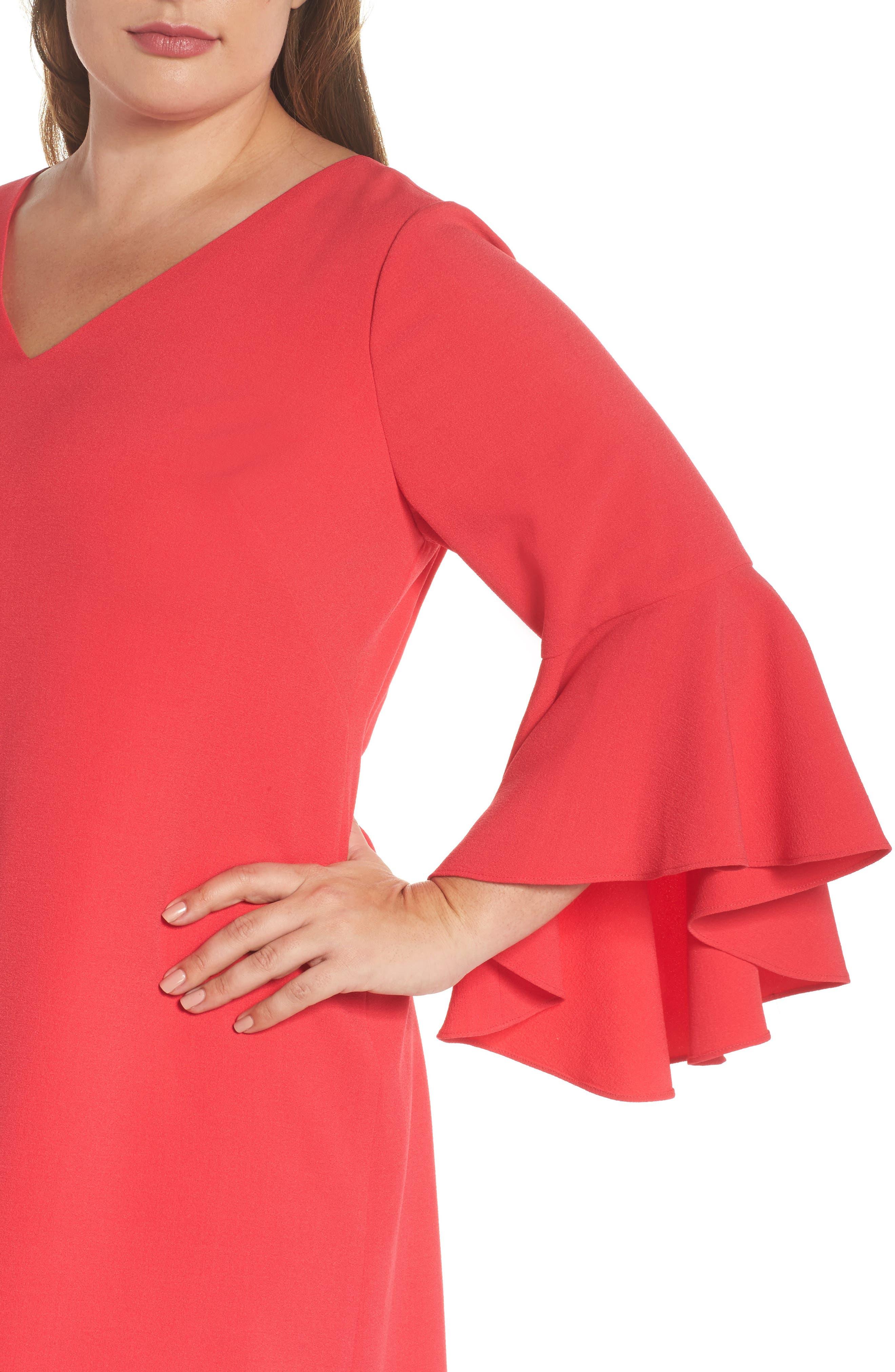 Bell Sleeve Crepe Shift Dress,                             Alternate thumbnail 5, color,                             Pink