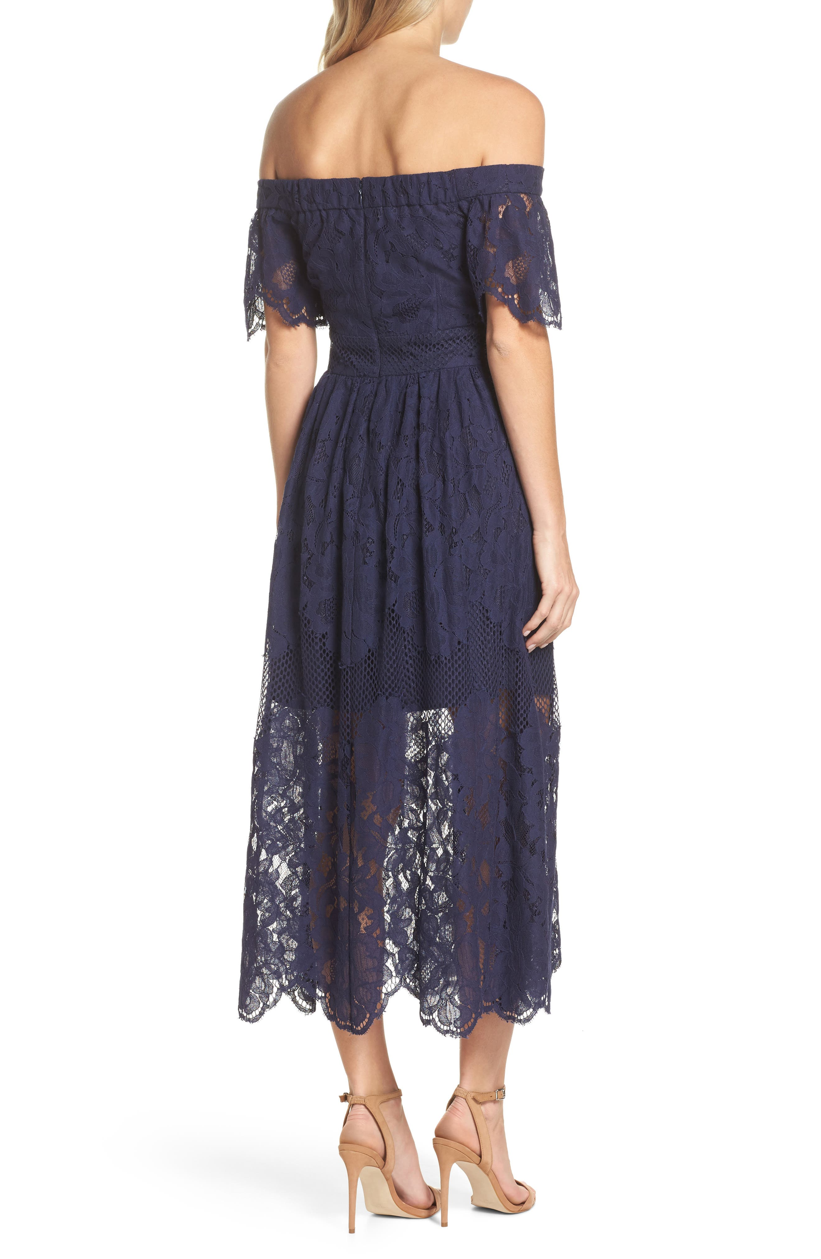 Off the Shoulder Lace Midi Dress,                             Alternate thumbnail 2, color,                             Navy