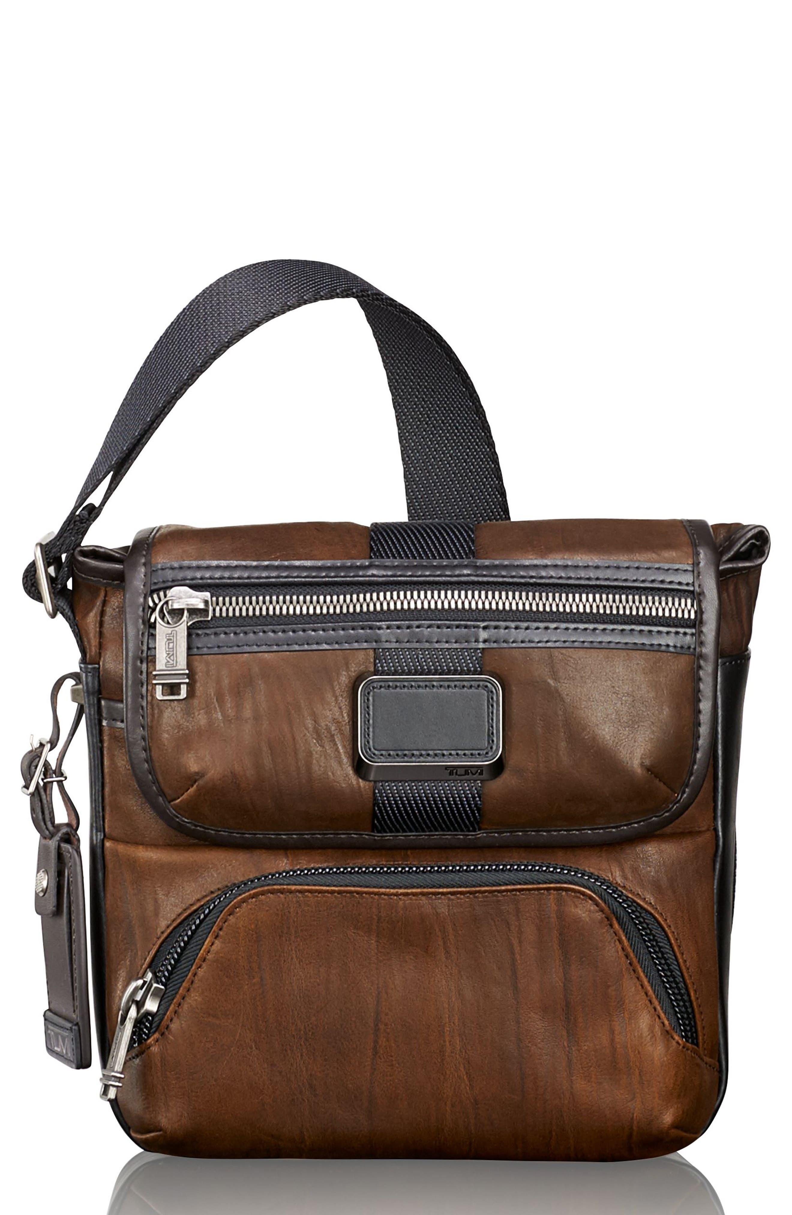 Alpha Bravo - Barton Leather Crossbody Bag,                         Main,                         color, Dark Brown