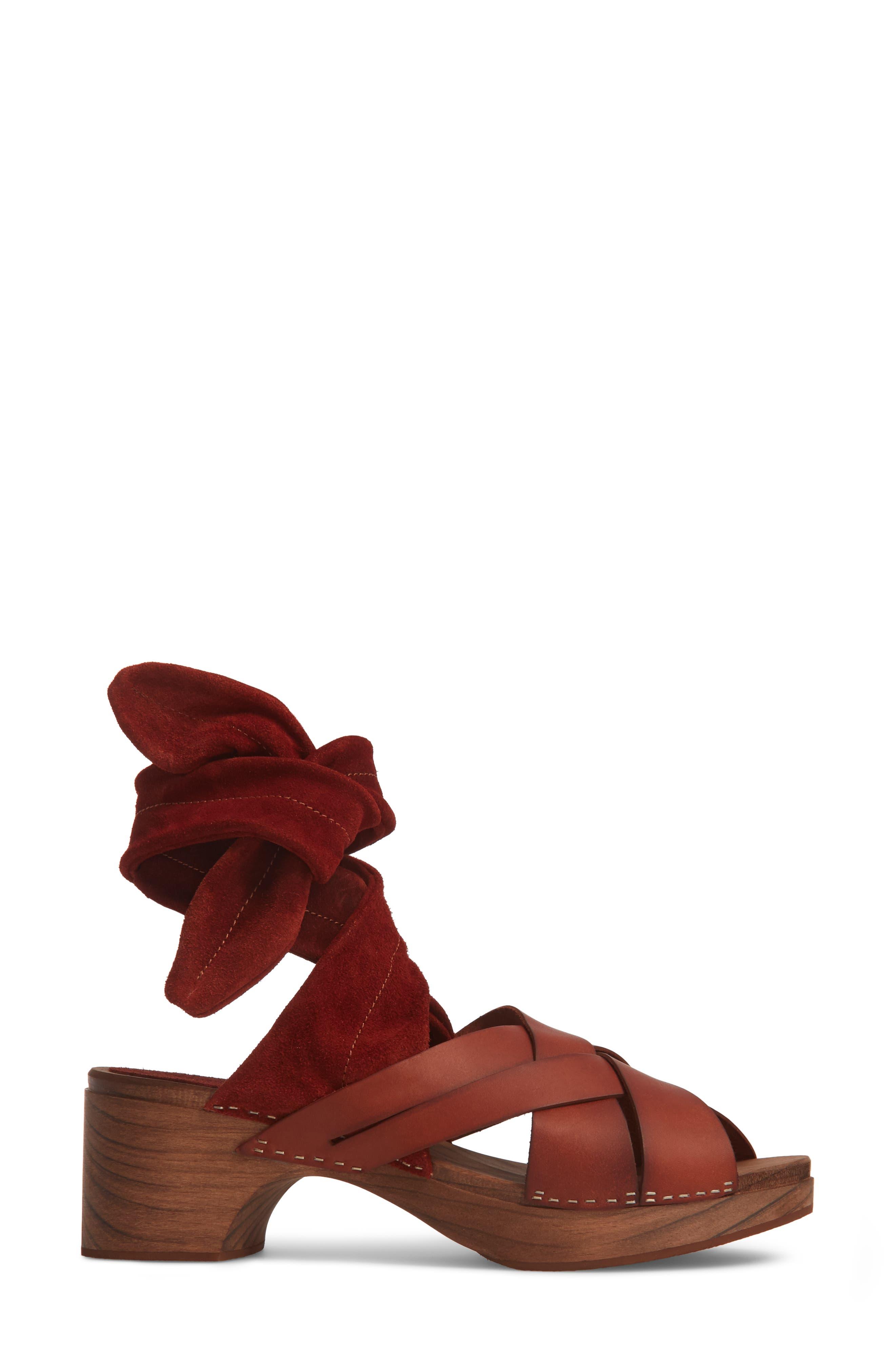 Emmy Ankle Wrap Sandal,                             Alternate thumbnail 3, color,                             Brown