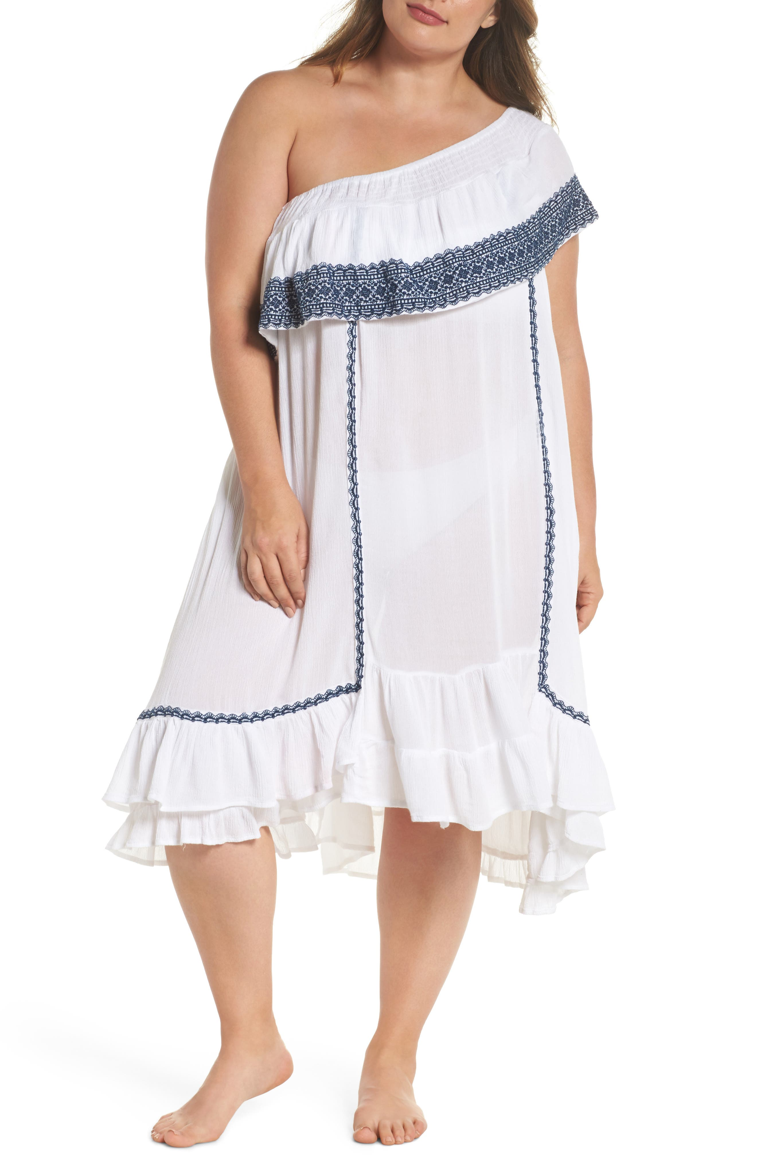 Gavin One-Shoulder Cover-Up Dress,                             Main thumbnail 1, color,                             White/ Navy