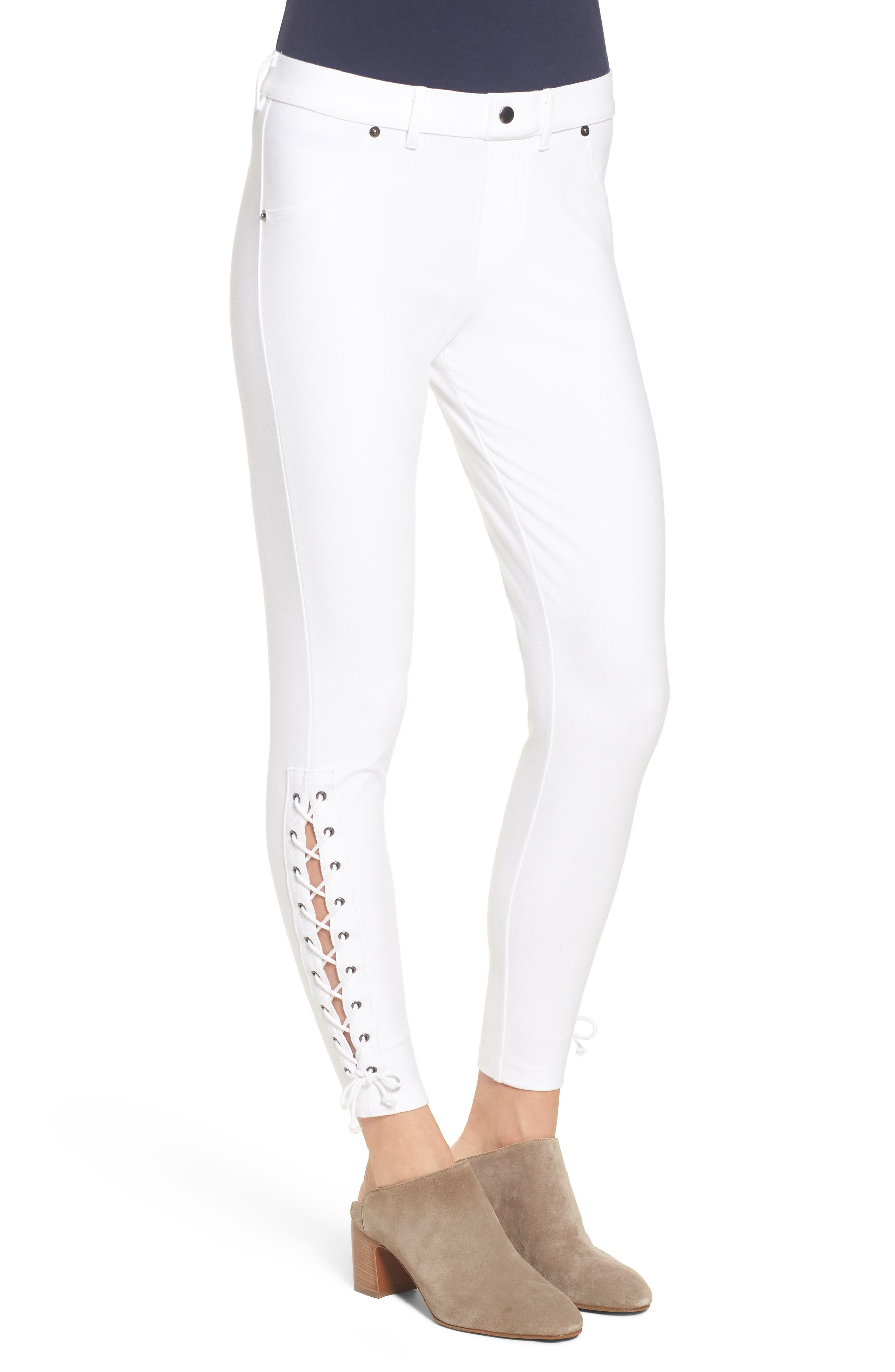 Lace-Up Denim Leggings,                             Alternate thumbnail 3, color,                             White