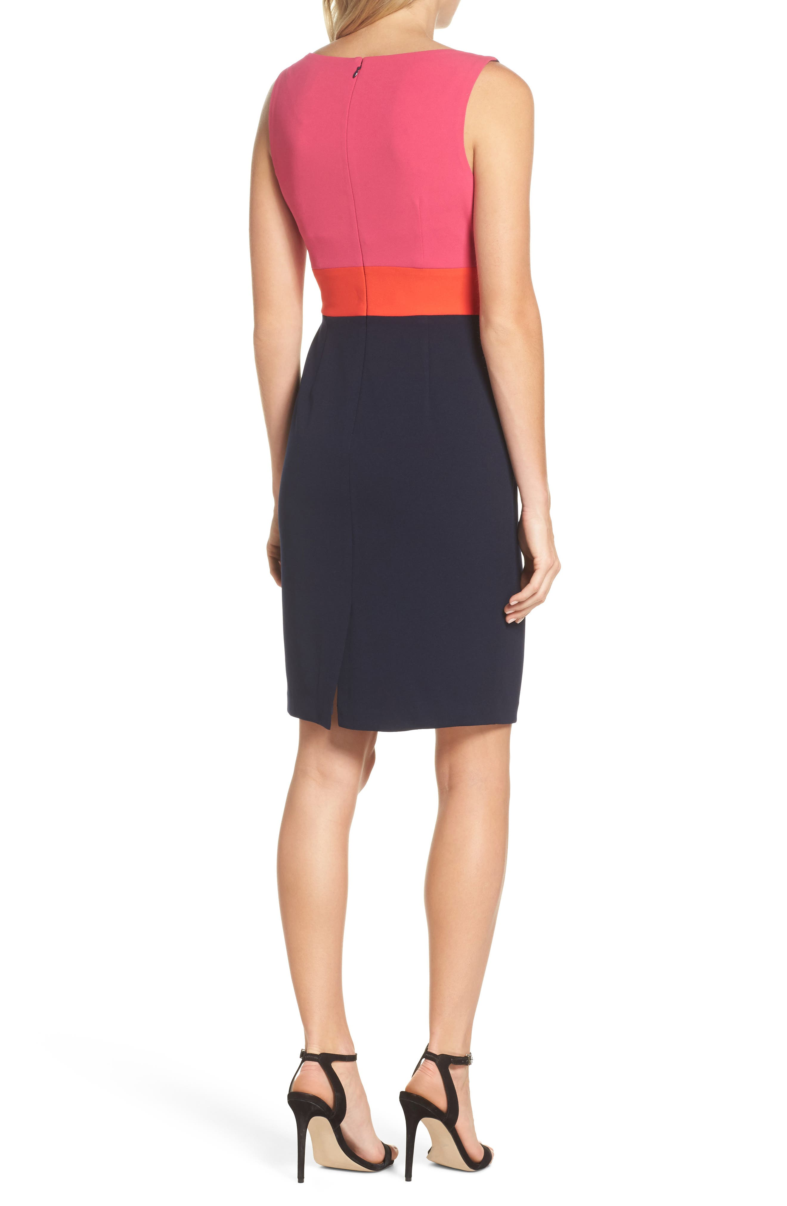 Sleeveless Colorblock Dress,                             Alternate thumbnail 2, color,                             Navy/ Pink