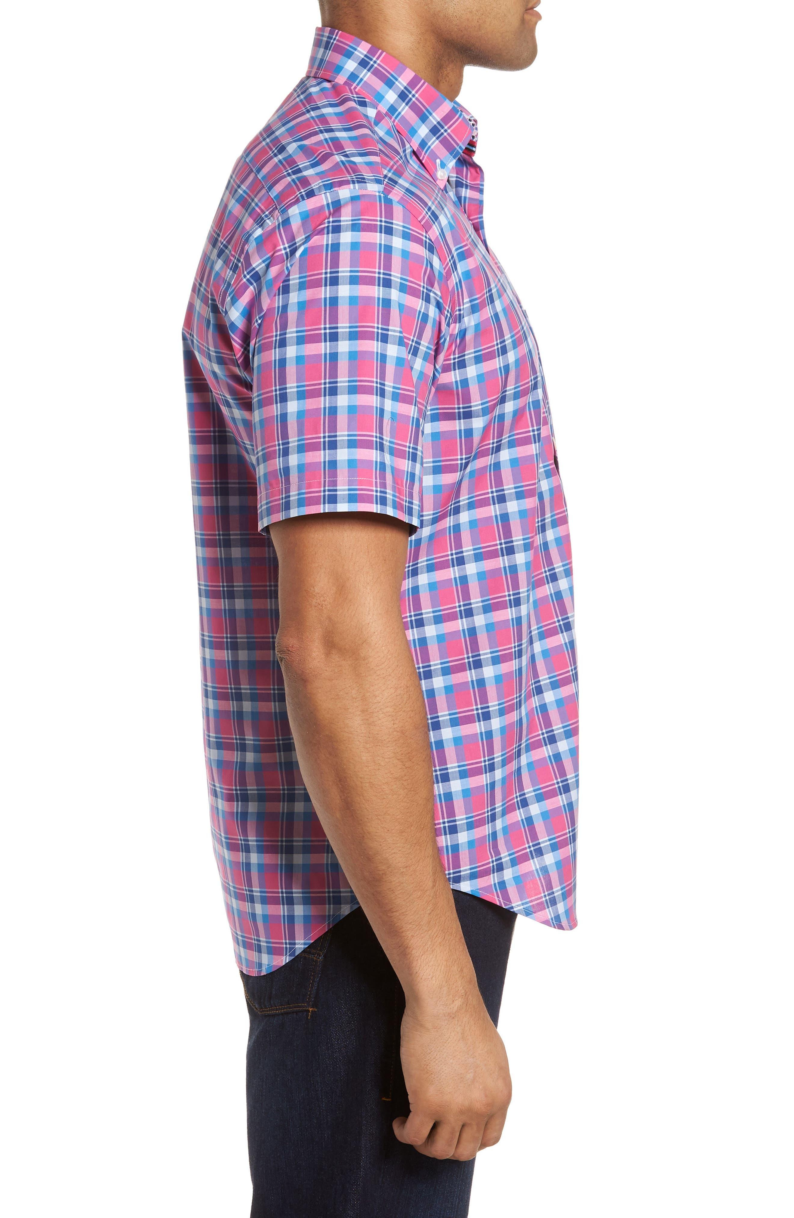 Sloane Regular Fit Plaid Sport Shirt,                             Alternate thumbnail 3, color,                             Pink