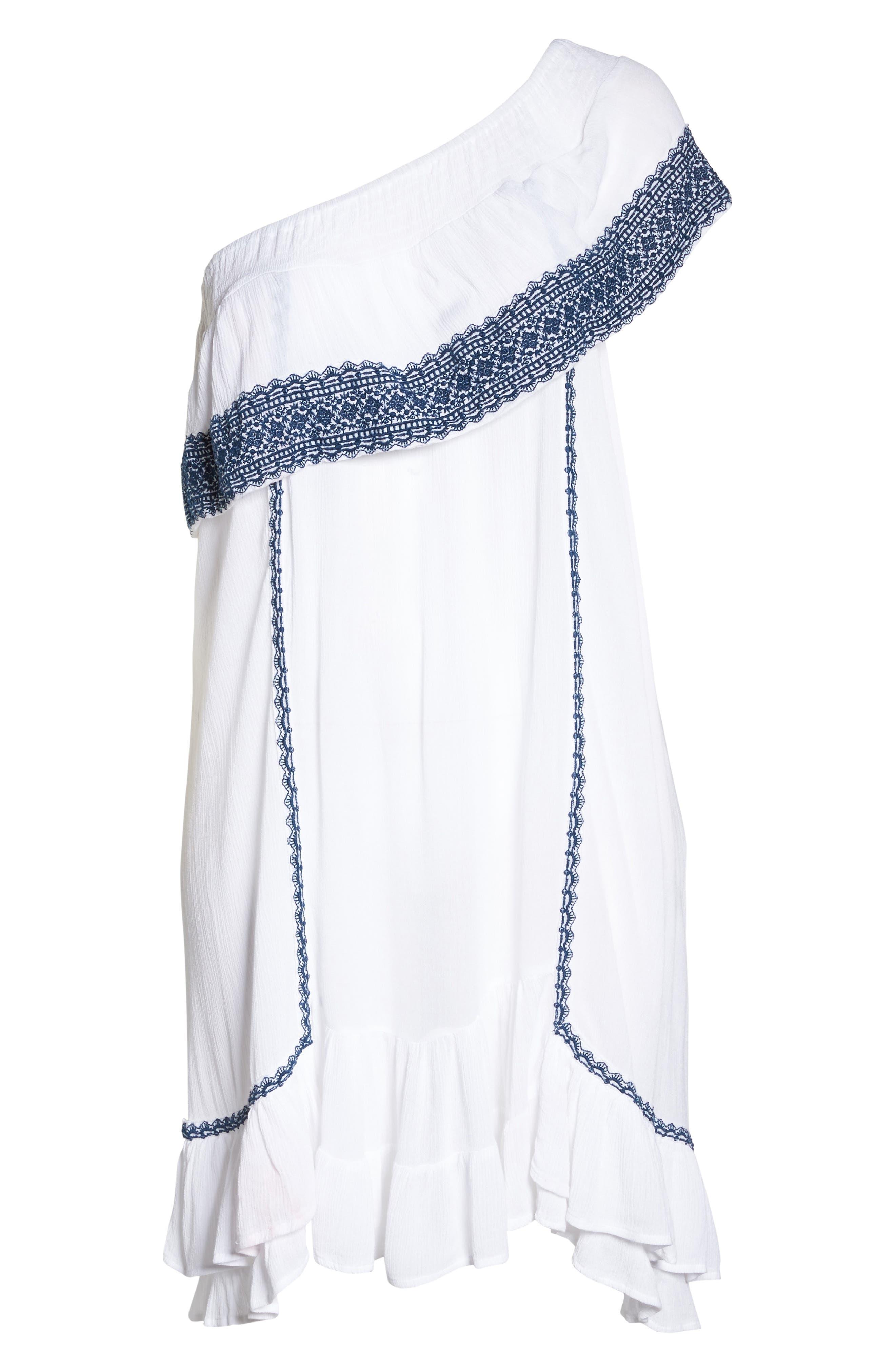 Gavin One-Shoulder Cover-Up Dress,                             Alternate thumbnail 6, color,                             White/ Navy
