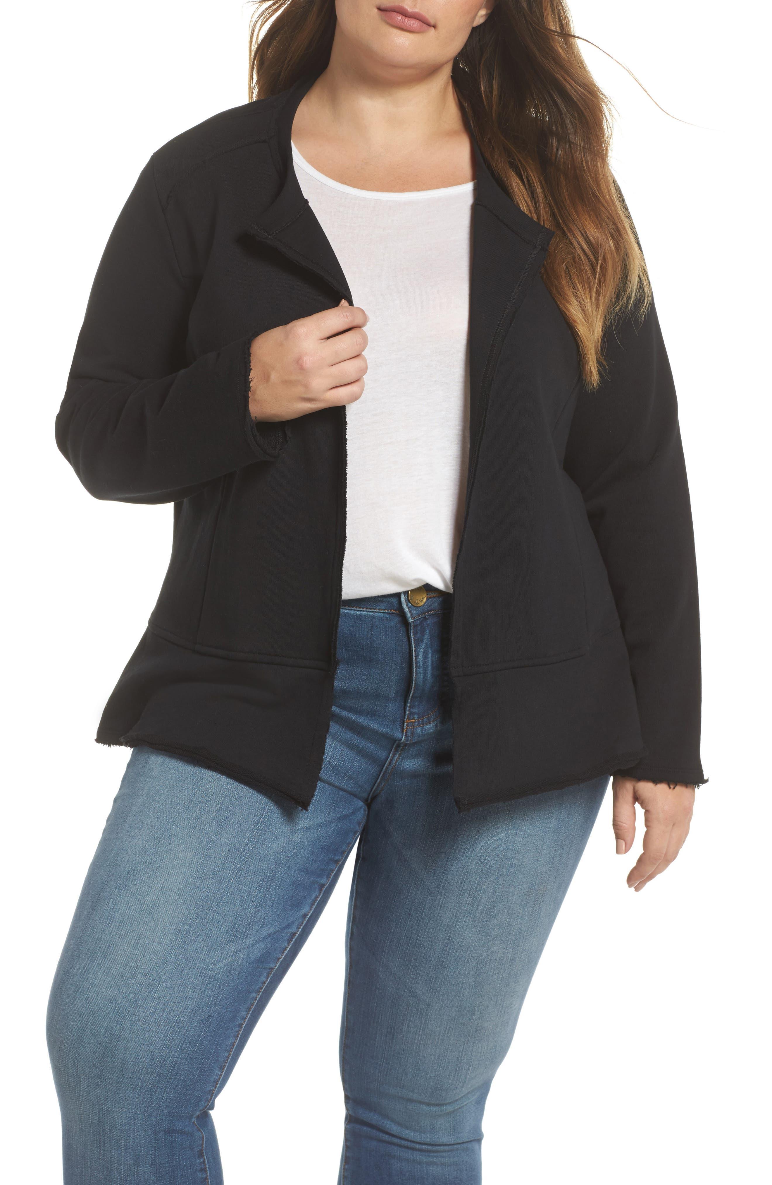 Caslon® Knit Peplum Jacket (Plus Size)