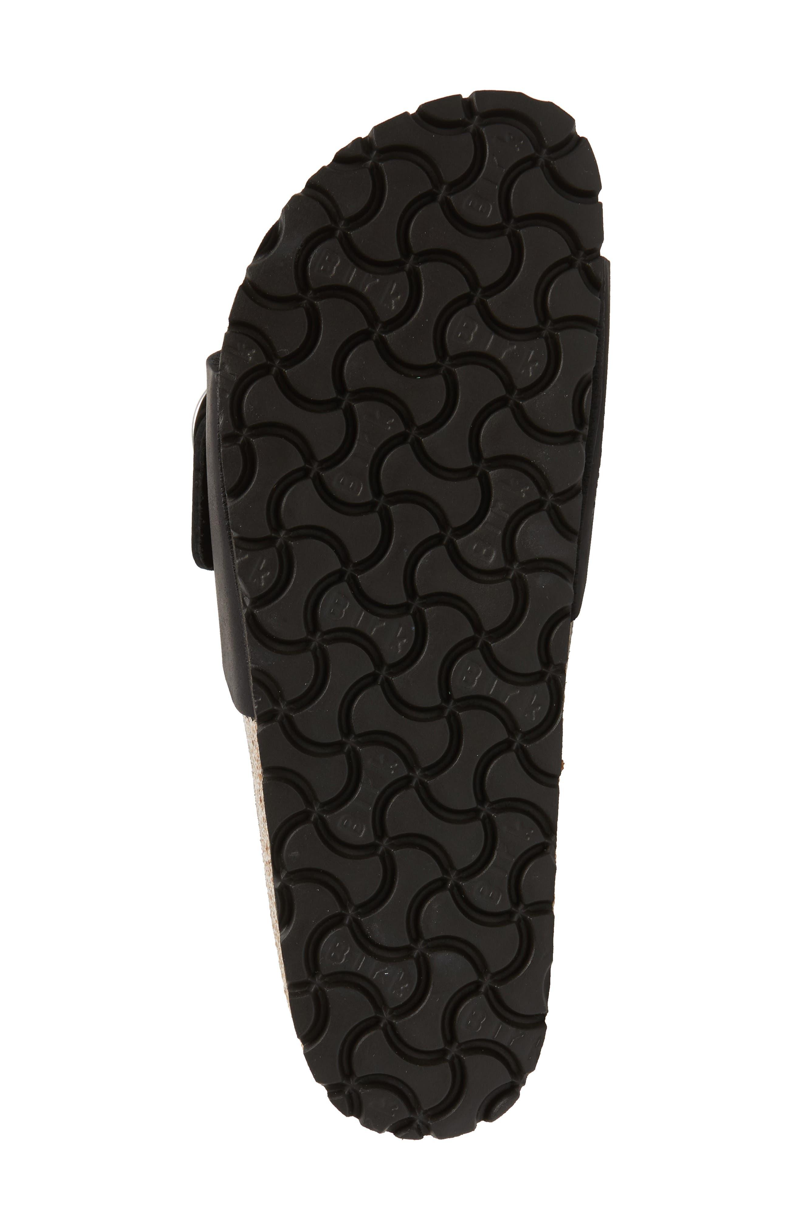 Madrid Big Buckle Slide Sandal,                             Alternate thumbnail 6, color,                             Black Leather