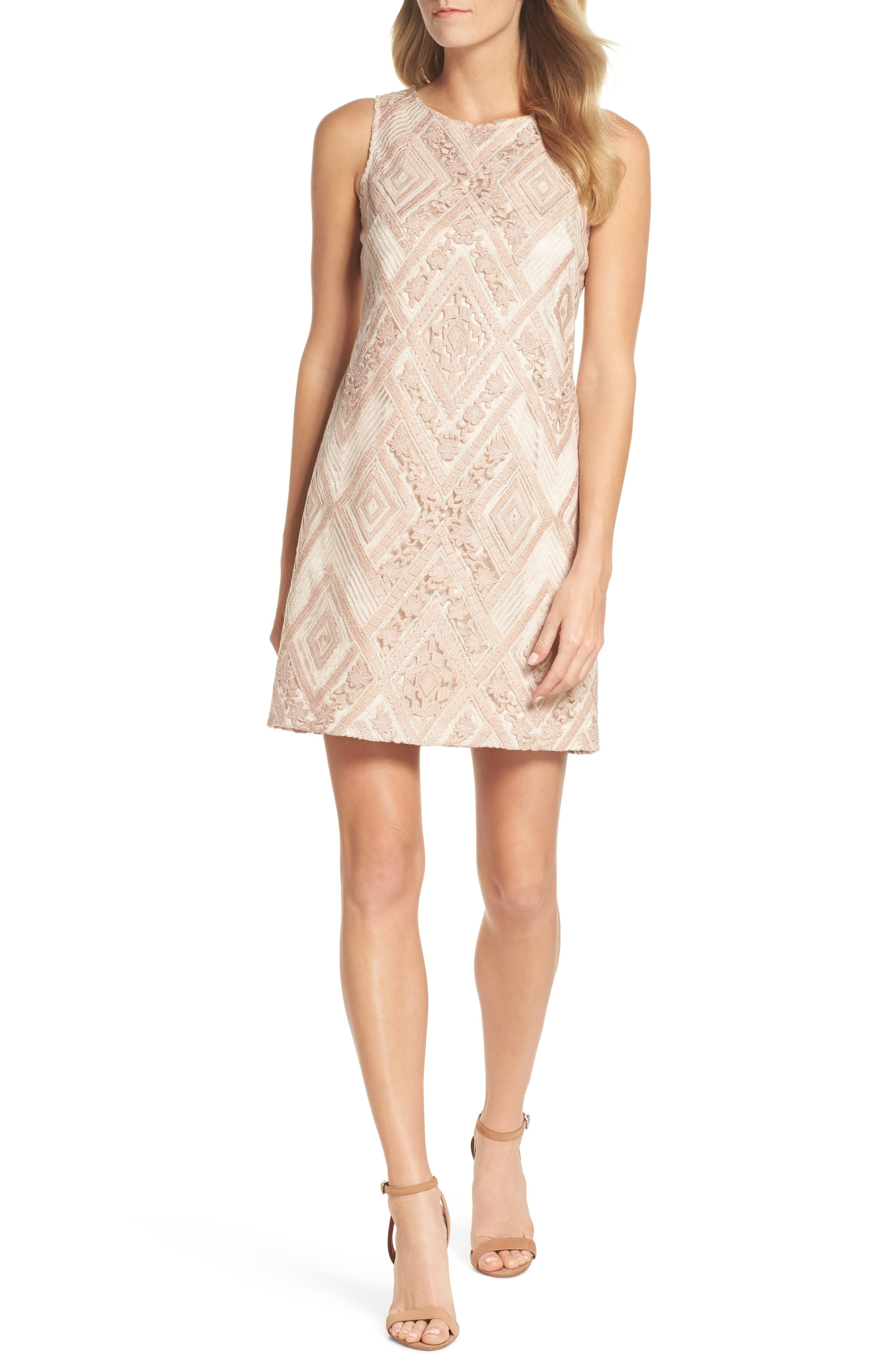 Sequin Embroidered Sheath Dress,                         Main,                         color, Blush