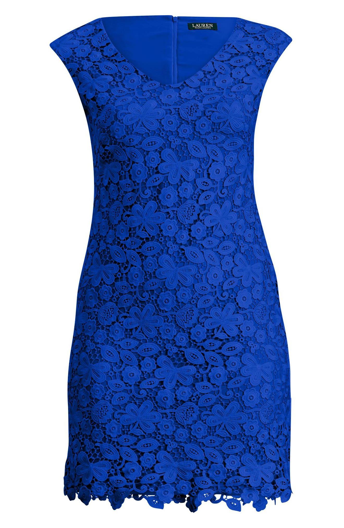 Montie Lace Sheath Dress,                             Alternate thumbnail 3, color,                             Deep Lapis