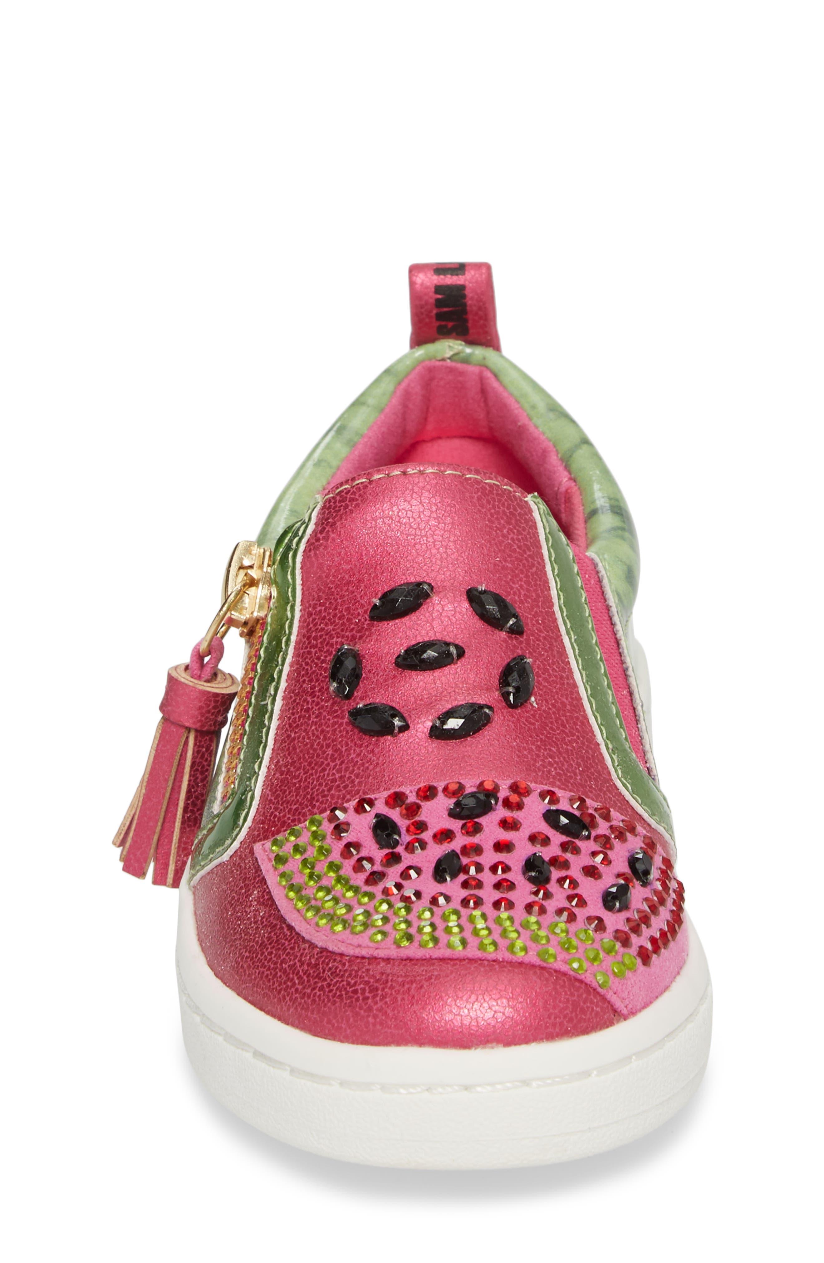 Blane Watermelon Sneaker,                             Alternate thumbnail 4, color,                             Fuchsia Patent Leather