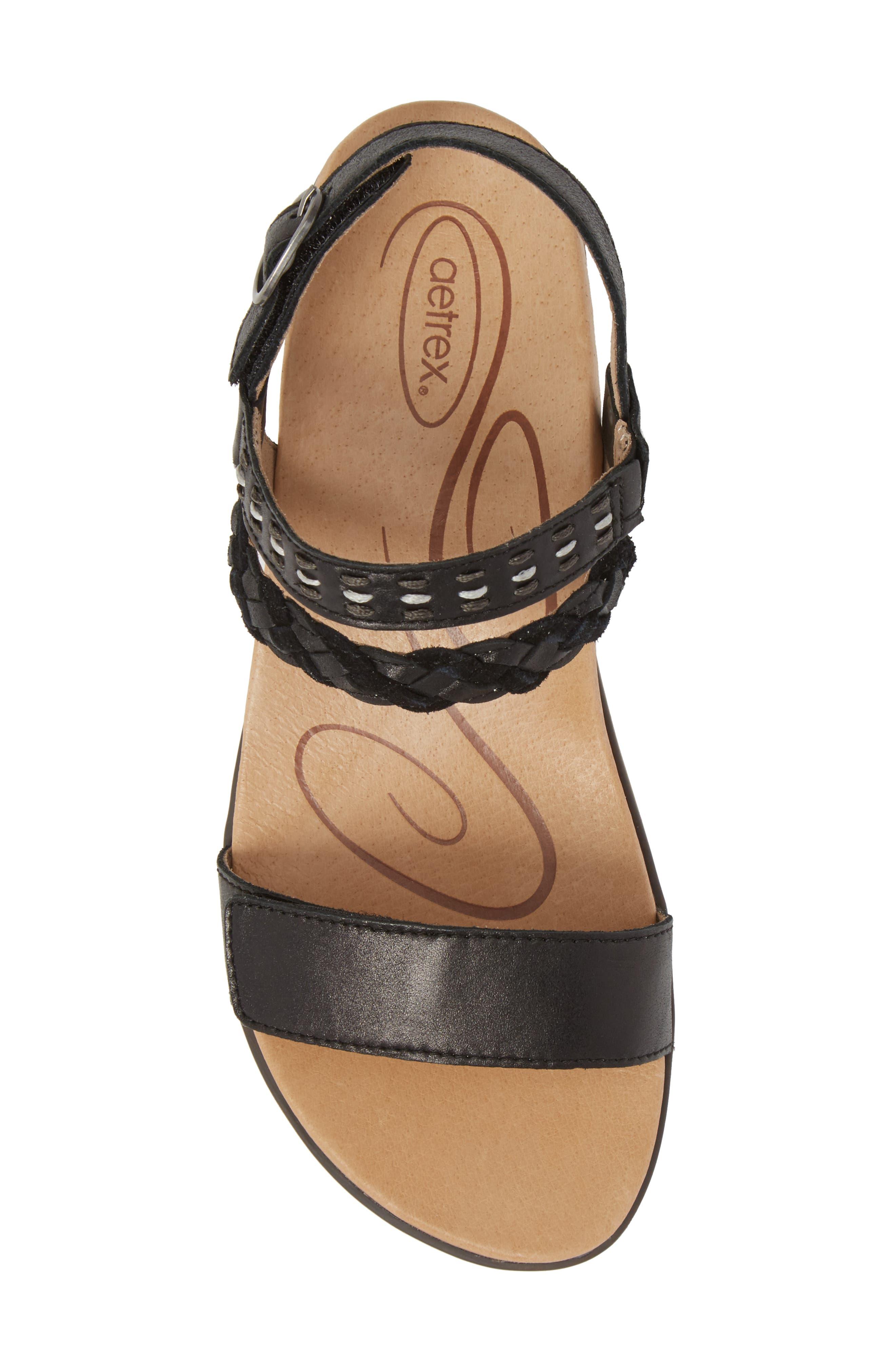 Celeste Sandal,                             Alternate thumbnail 5, color,                             Black Leather