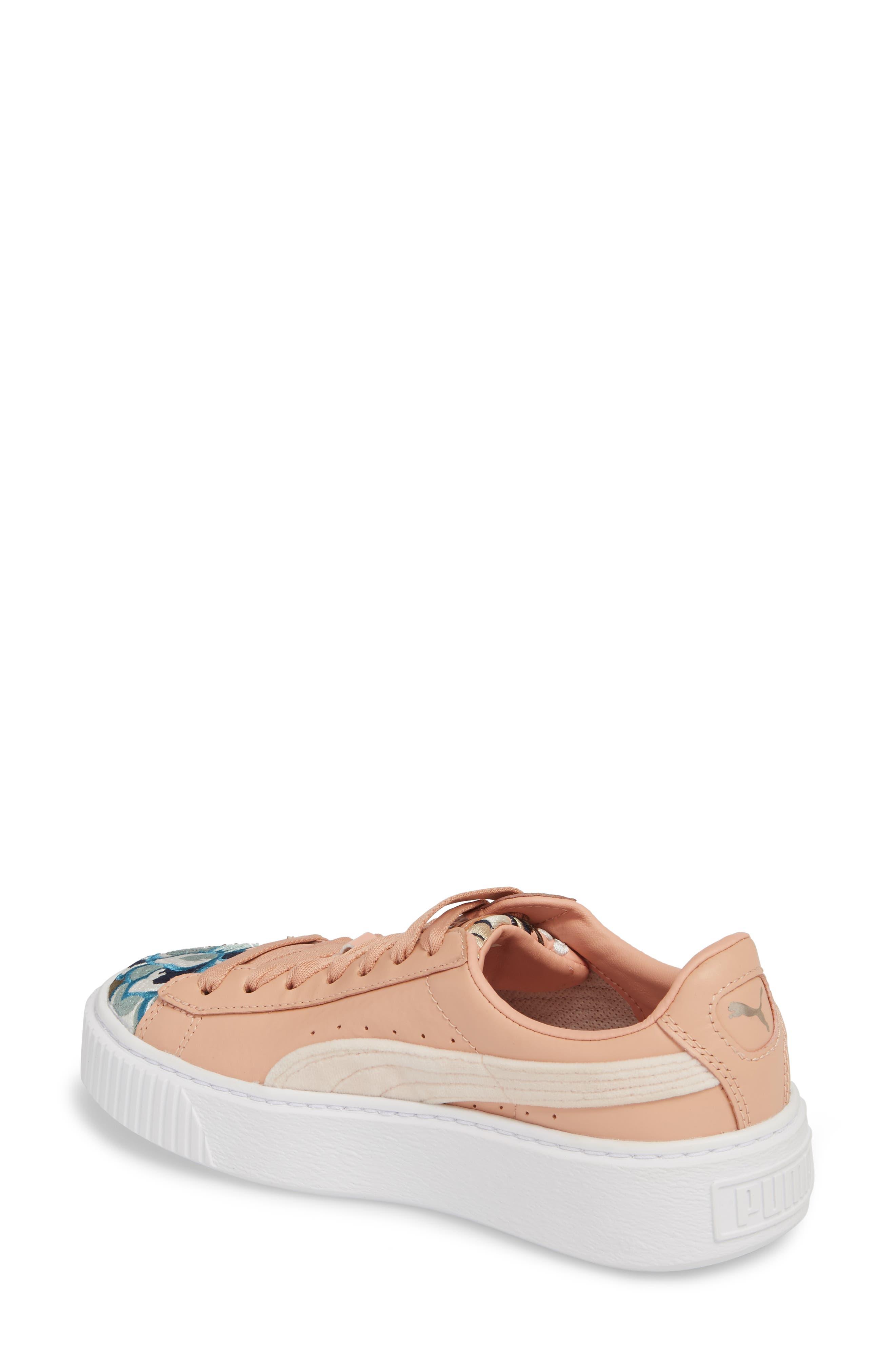 Platform Hyper Embroidered Sneaker,                             Alternate thumbnail 2, color,                             Peach Beige