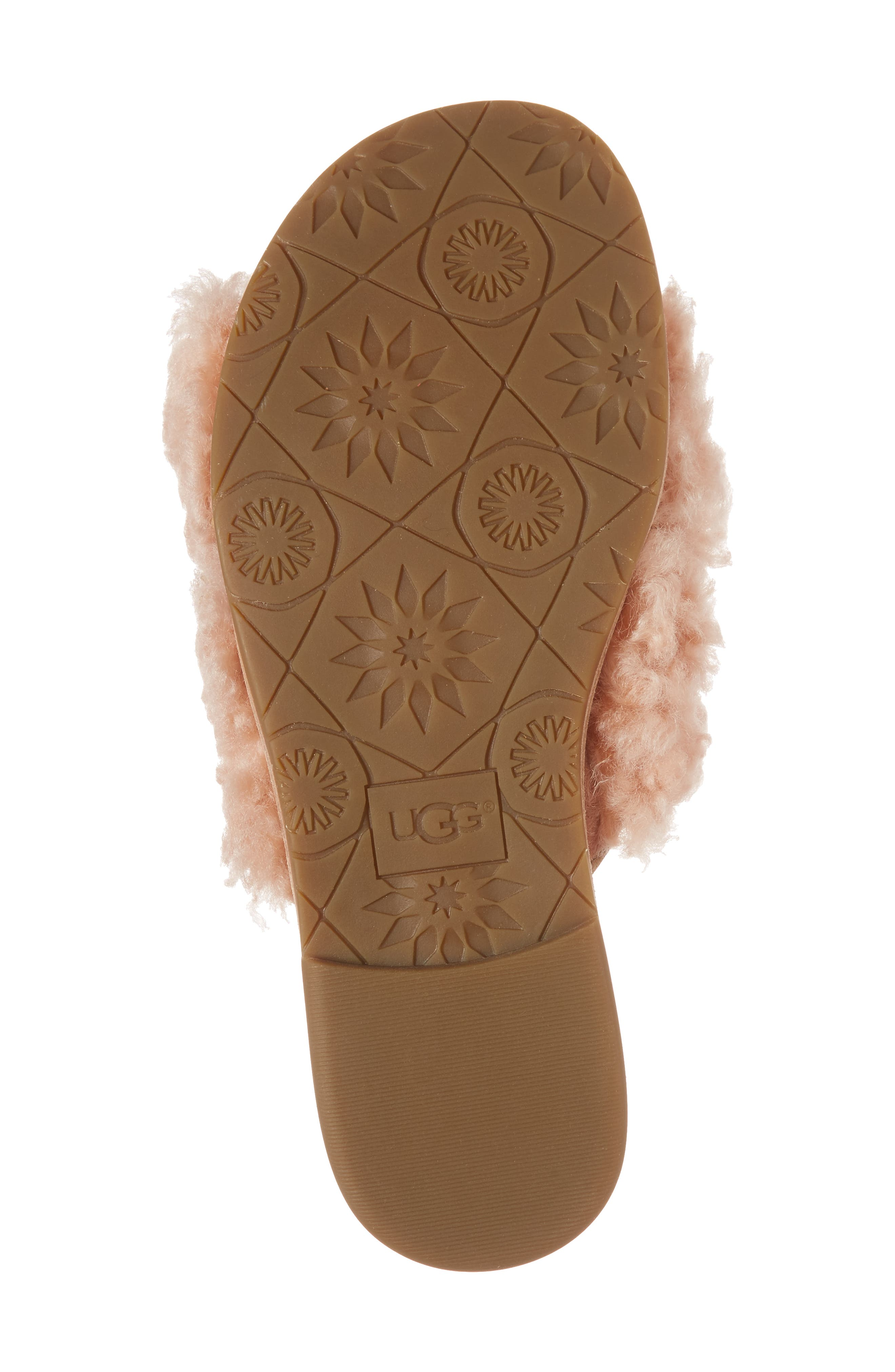Joni Genuine Shearling Slide Sandal,                             Alternate thumbnail 4, color,                             Suntan