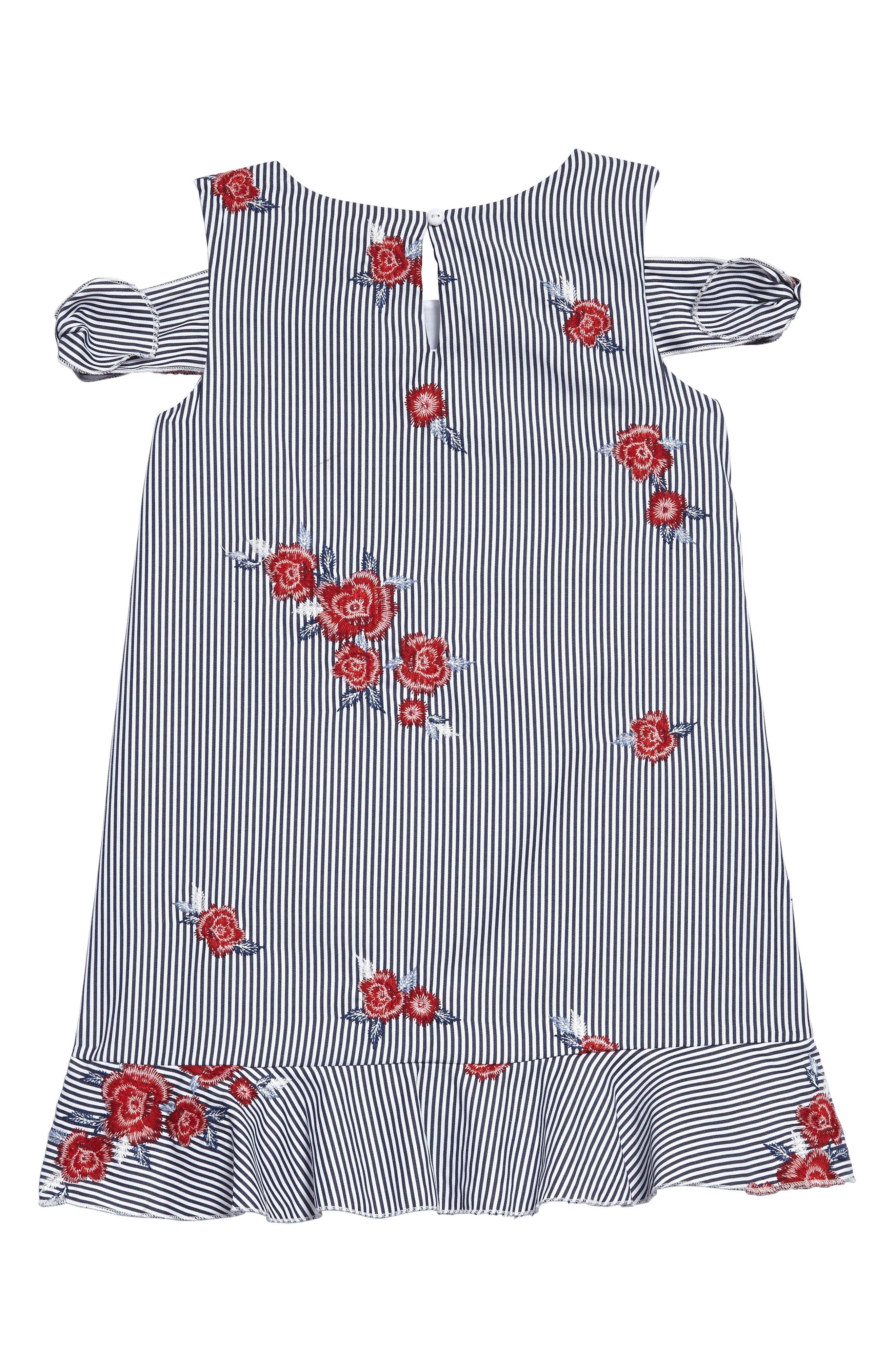 Embroidered Stripe Dress,                             Alternate thumbnail 2, color,                             Navy Multi