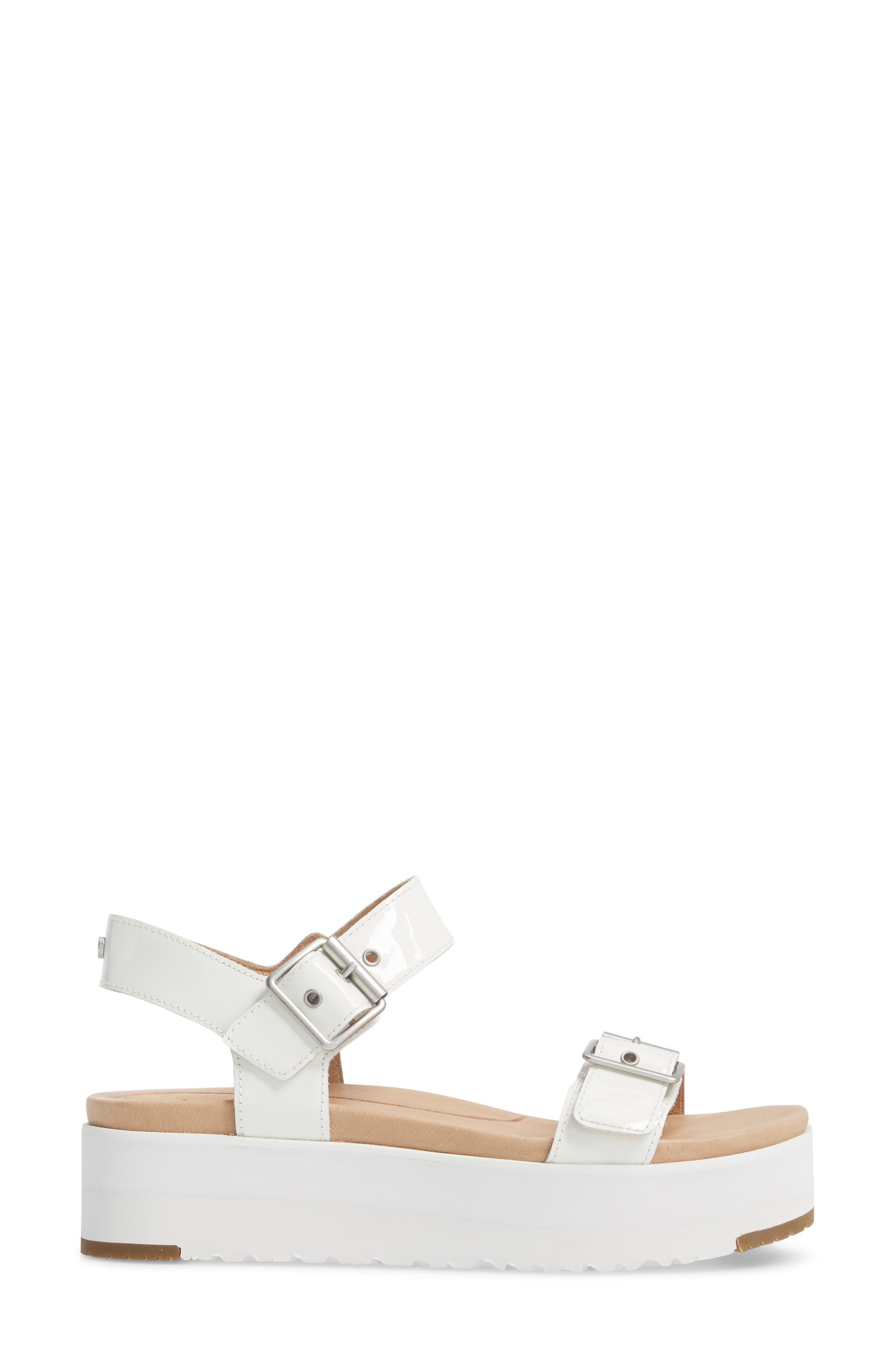 Angie Platform Sandal,                             Alternate thumbnail 3, color,                             White Leather